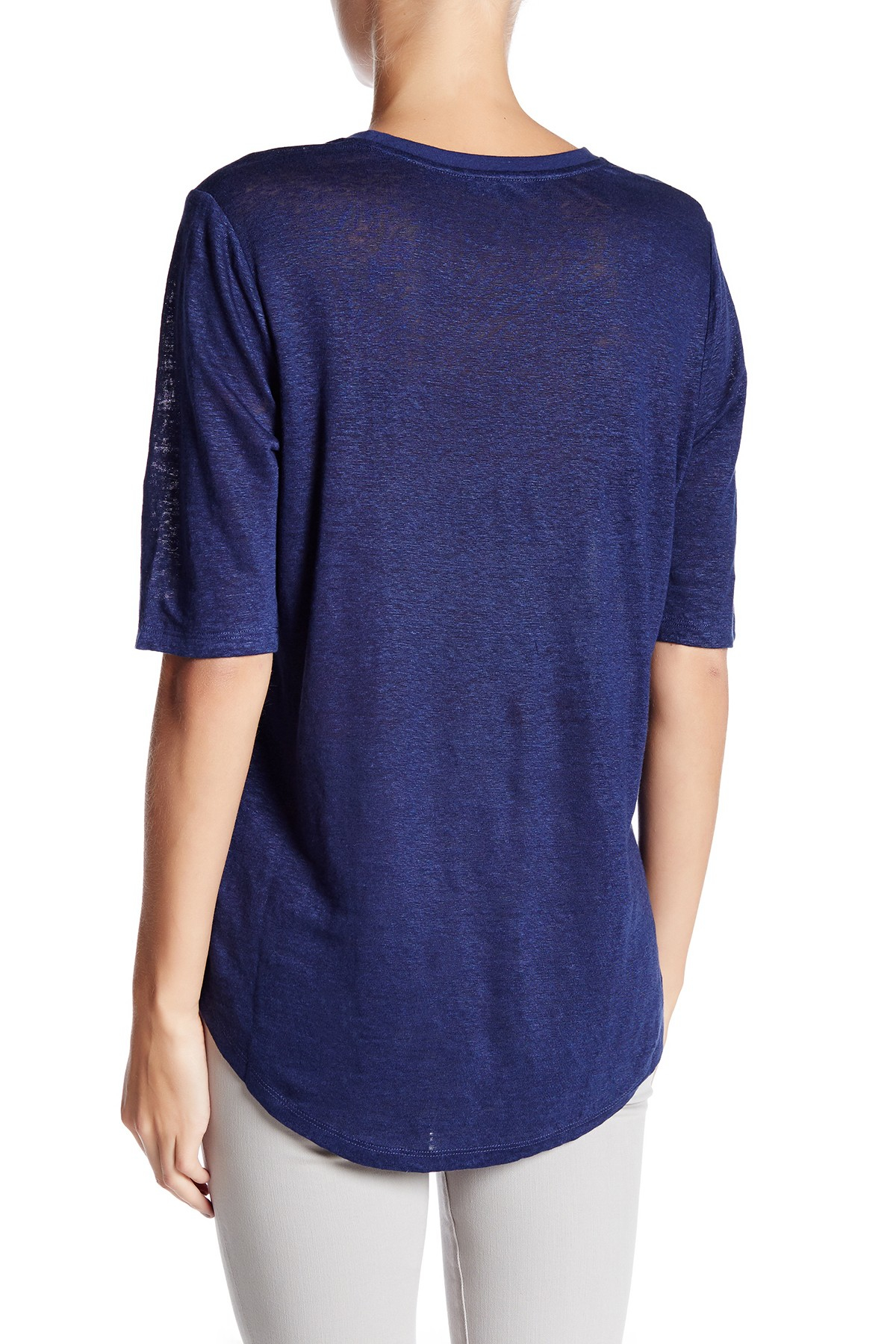 Vince elbow sleeve linen tee in blue lyst for Vince tee shirts sale