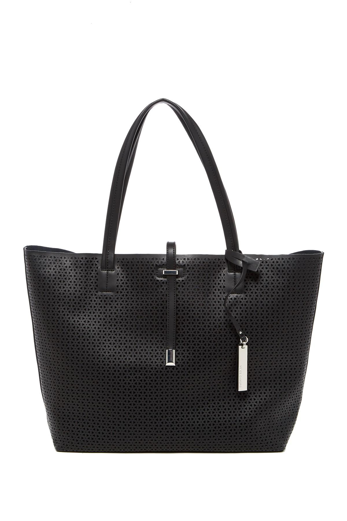 Vince Camuto Leila Laser Cut Leather Tote In Black Lyst