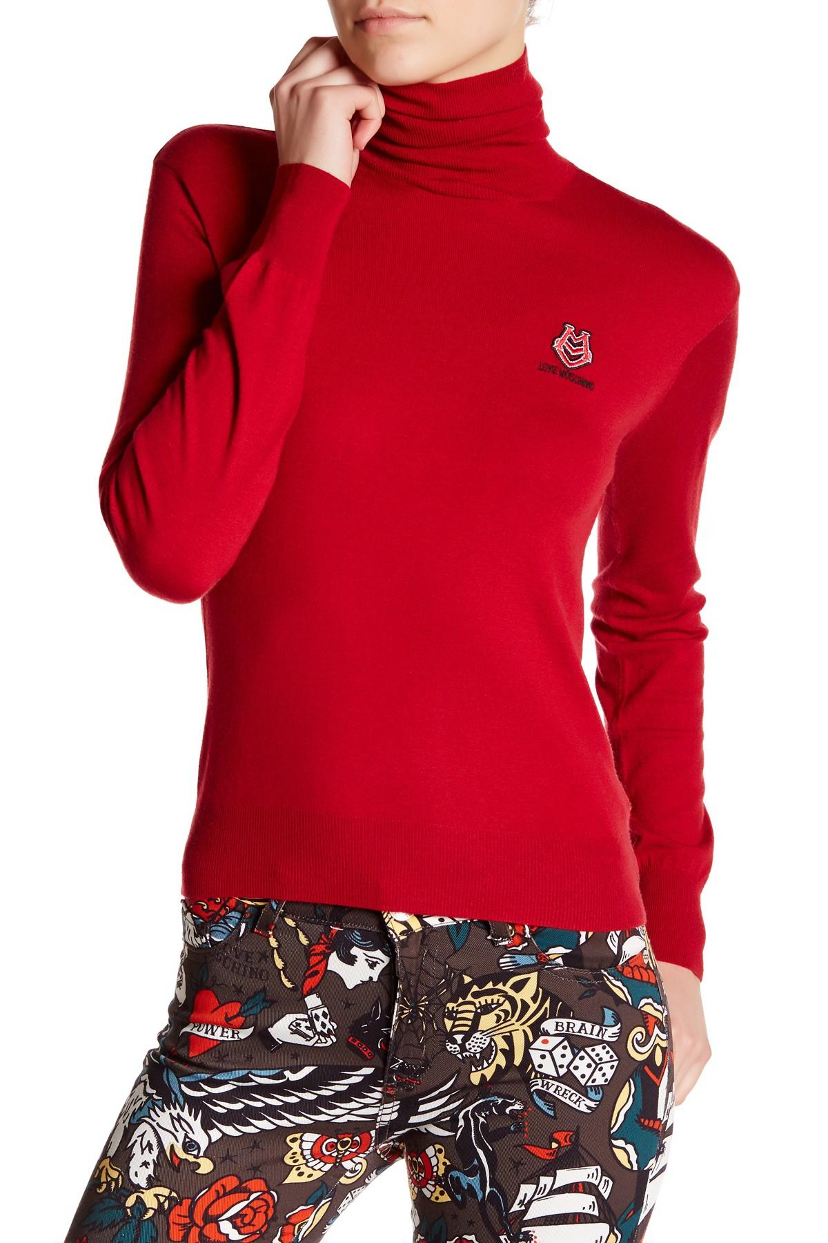 love moschino turtleneck logo sweater in red lyst. Black Bedroom Furniture Sets. Home Design Ideas