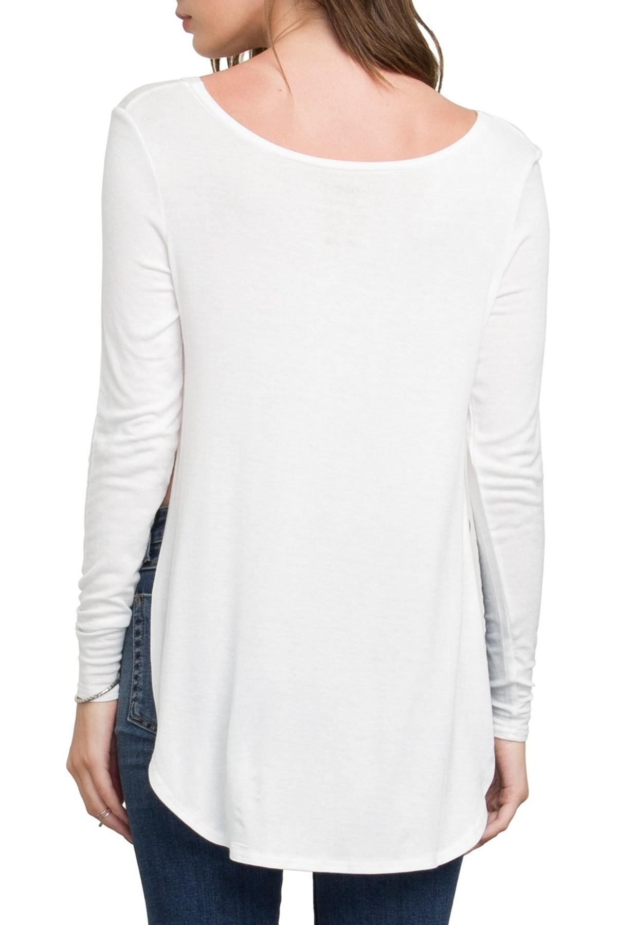 Rvca high end 3 long sleeve tee in white lyst for High end white t shirts