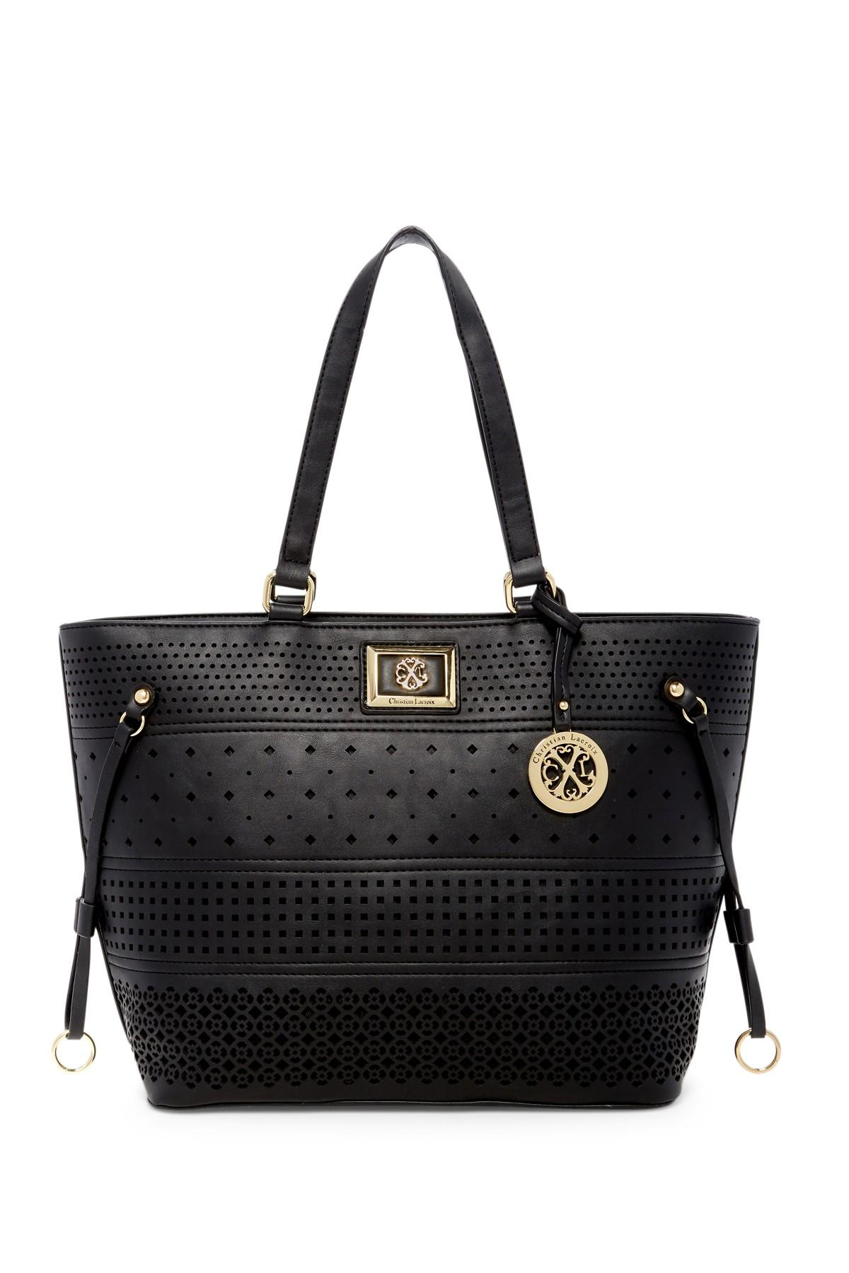 Cxl By Christian Lacroix Renee Perforated Tote In Black Lyst