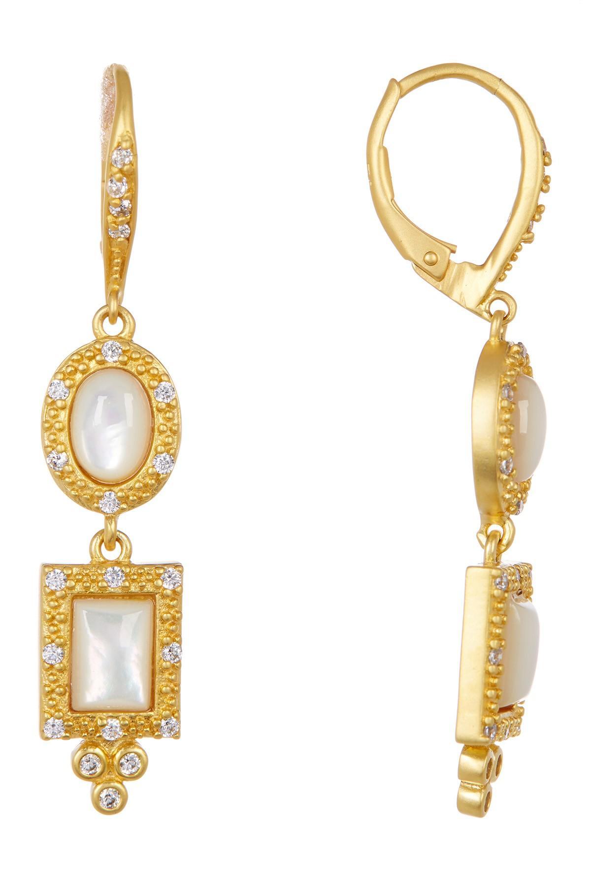 Lyst Freida Rothman Femme Mother Pearl & Cz Drop Earrings