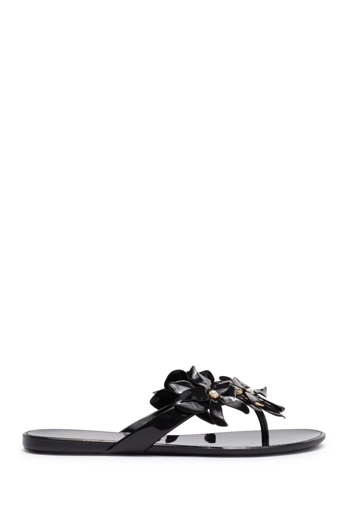 1b77667ba4cf Lyst - Nine West Mapilo Flower Embellished Jelly Flip Flop (women ...