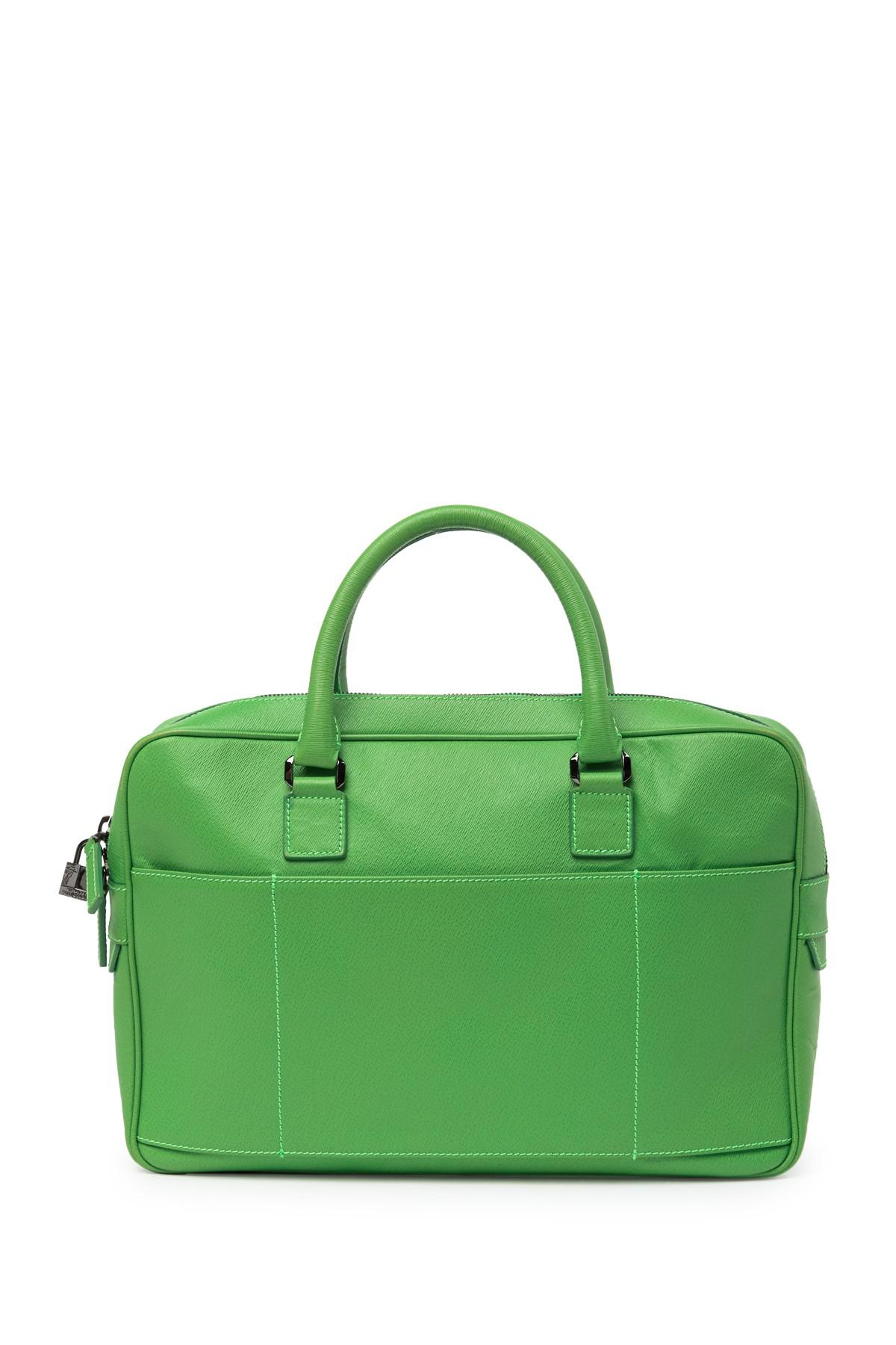 903f68d07384 Lyst - Versace Leather Travel Bag in Green for Men