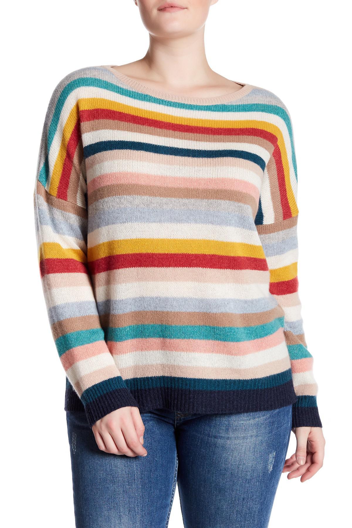 e77e7e27e9d Lyst - NAKEDCASHMERE Blaire Stripe Cashmere Sweater (plus Size)