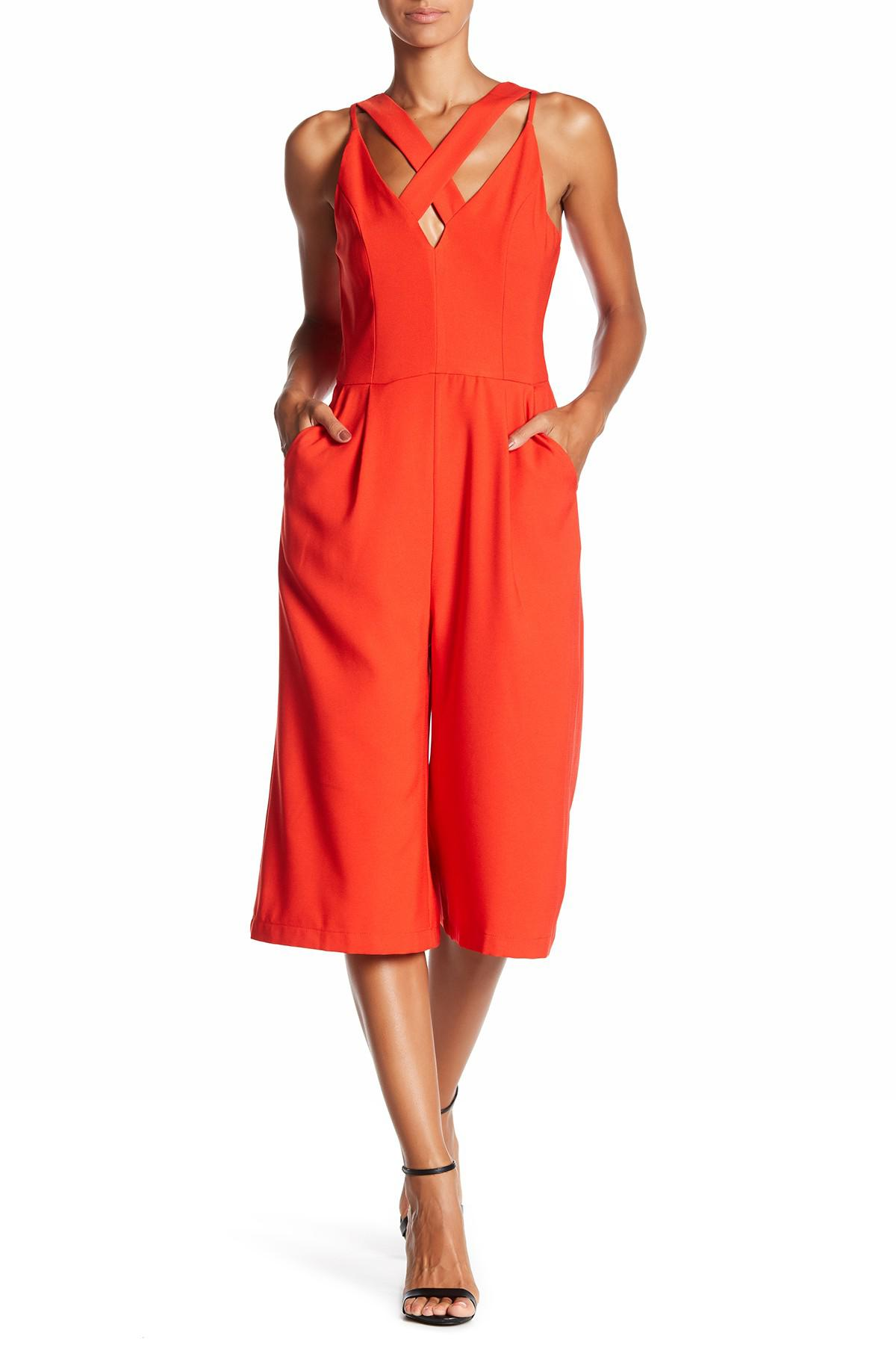 986a31ea94d6 Lyst - Adelyn Rae Crisscross Culotte Jumpsuit in Red