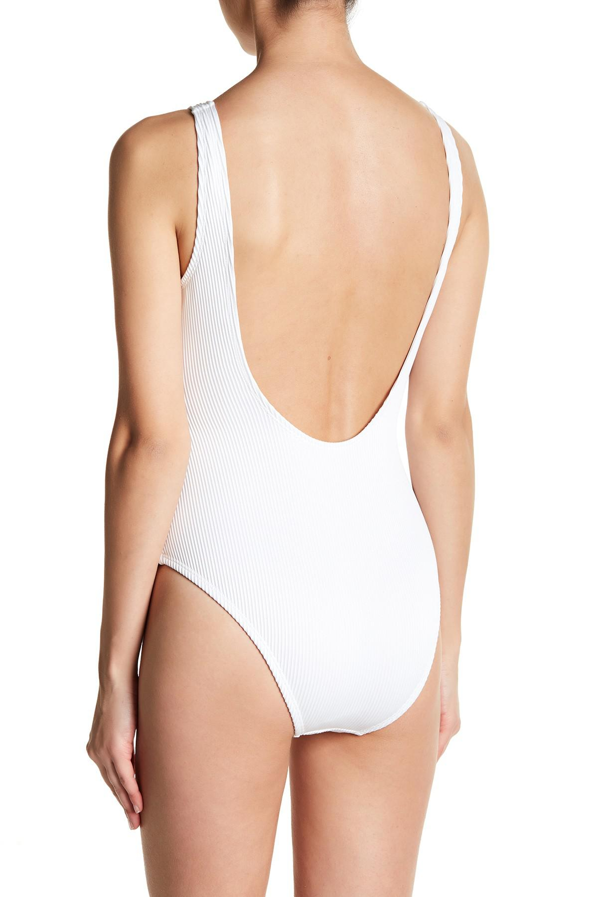 7b3c76945e1d8 Lyst - Vigoss Ribbed Snap One-piece Swimsuit in White