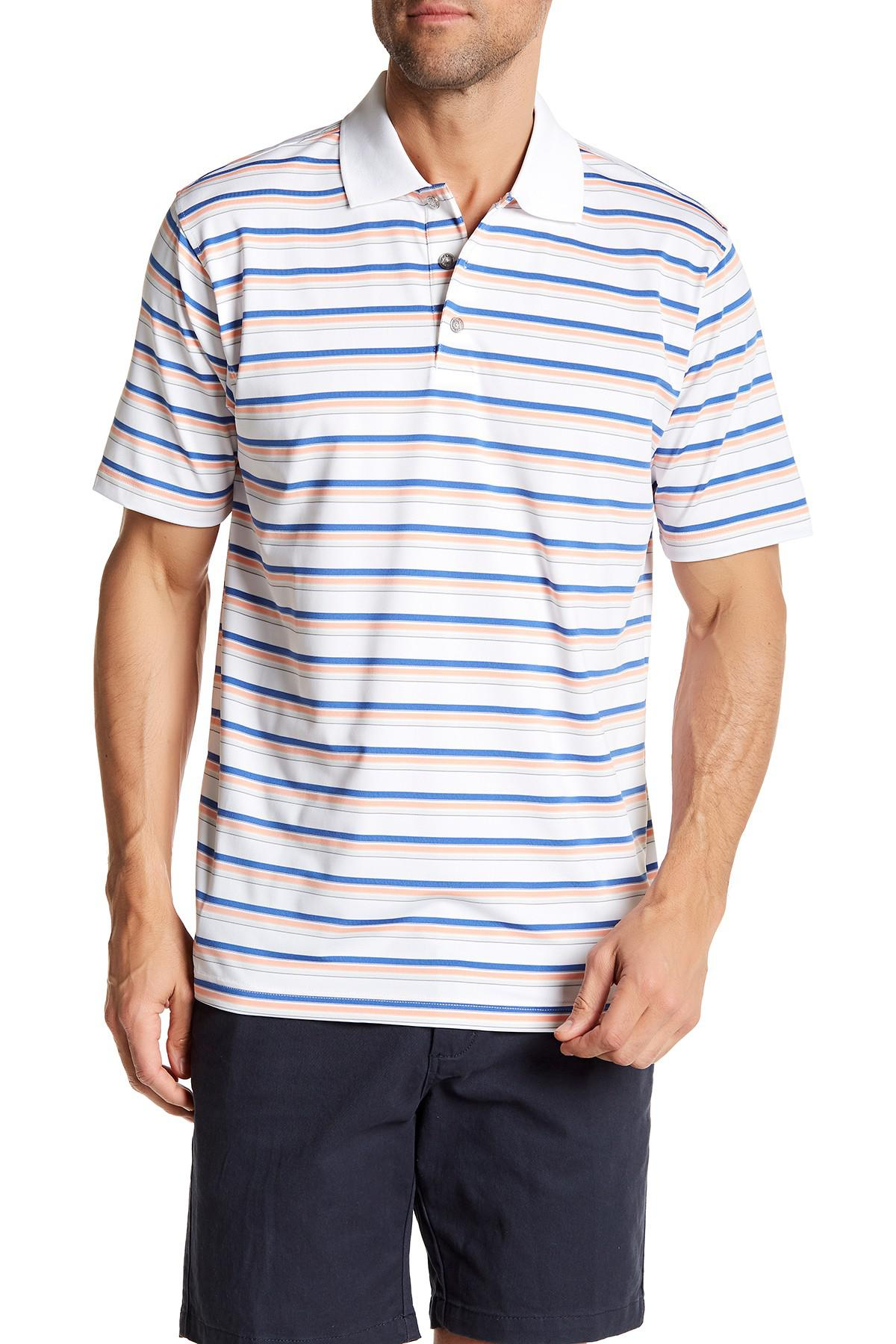 Pebble Beach Mens Embossed Stripe Polo Shirt