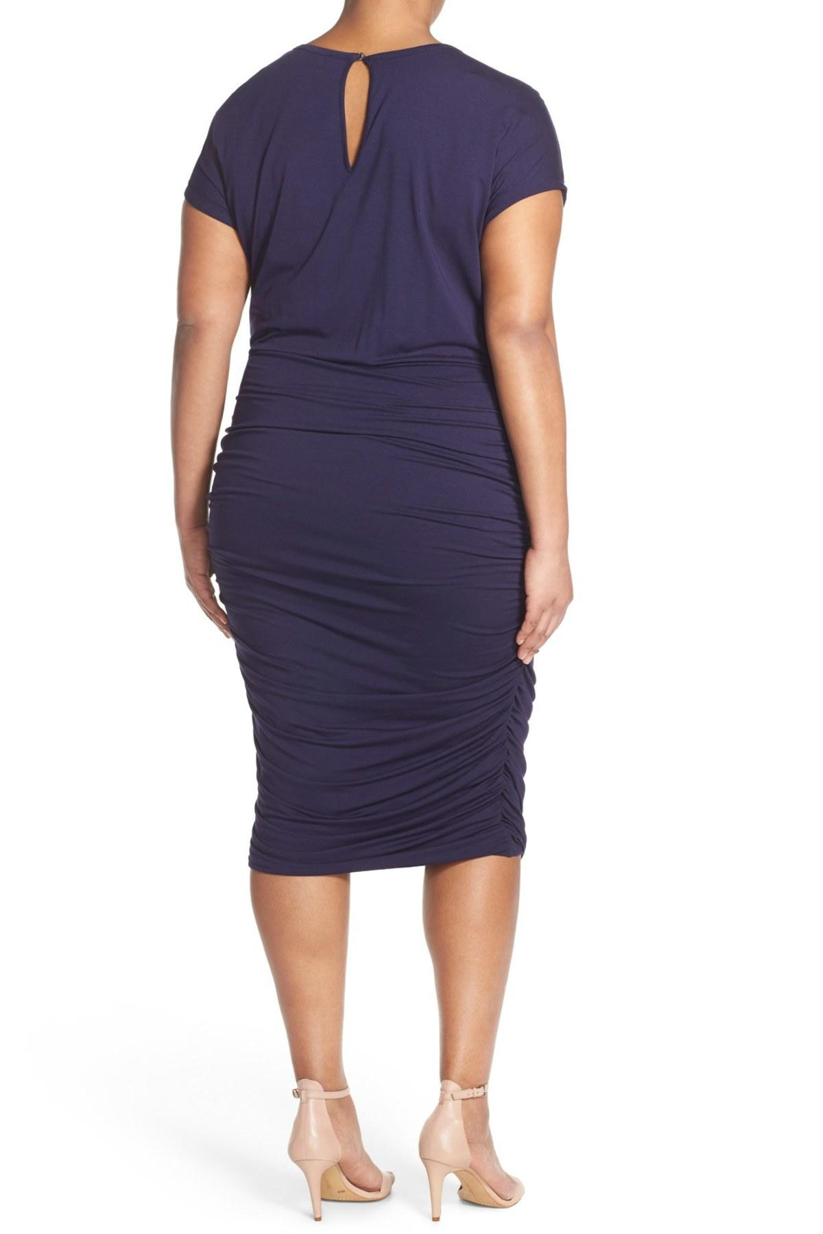 d1f23fb6fc9 Lyst - Vince Camuto Side Ruched Jersey Midi Dress (plus Size ...