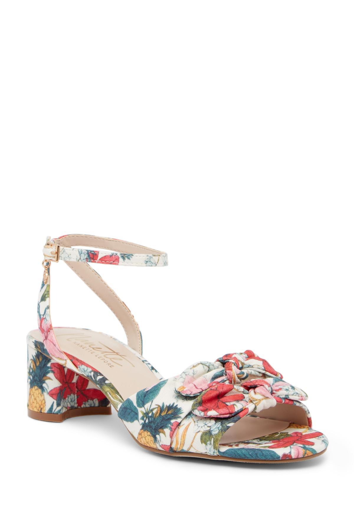 NANETTE nanette lepore Thora Floral Ankle Strap Sandal 5UpUc