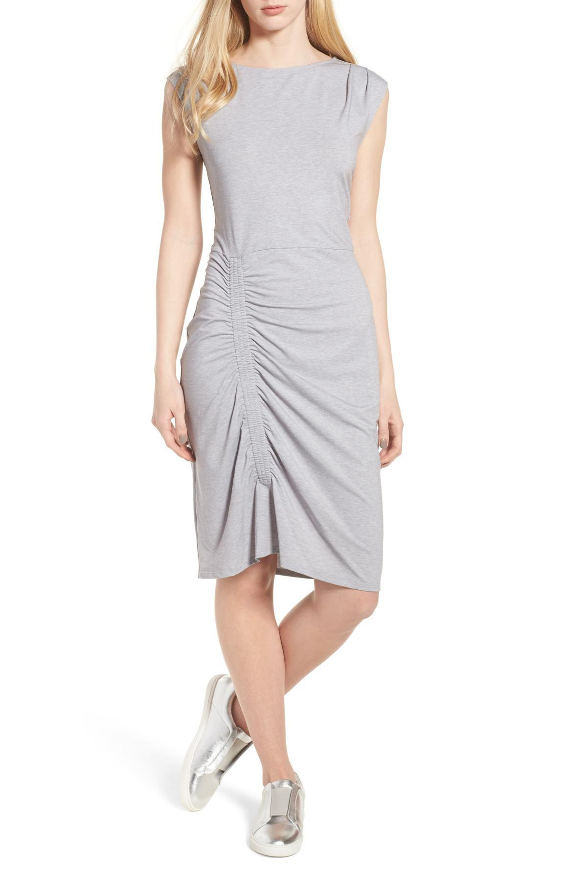 Lyst - Trouvé Ruched Knit Dress in Gray ee1fce1f8