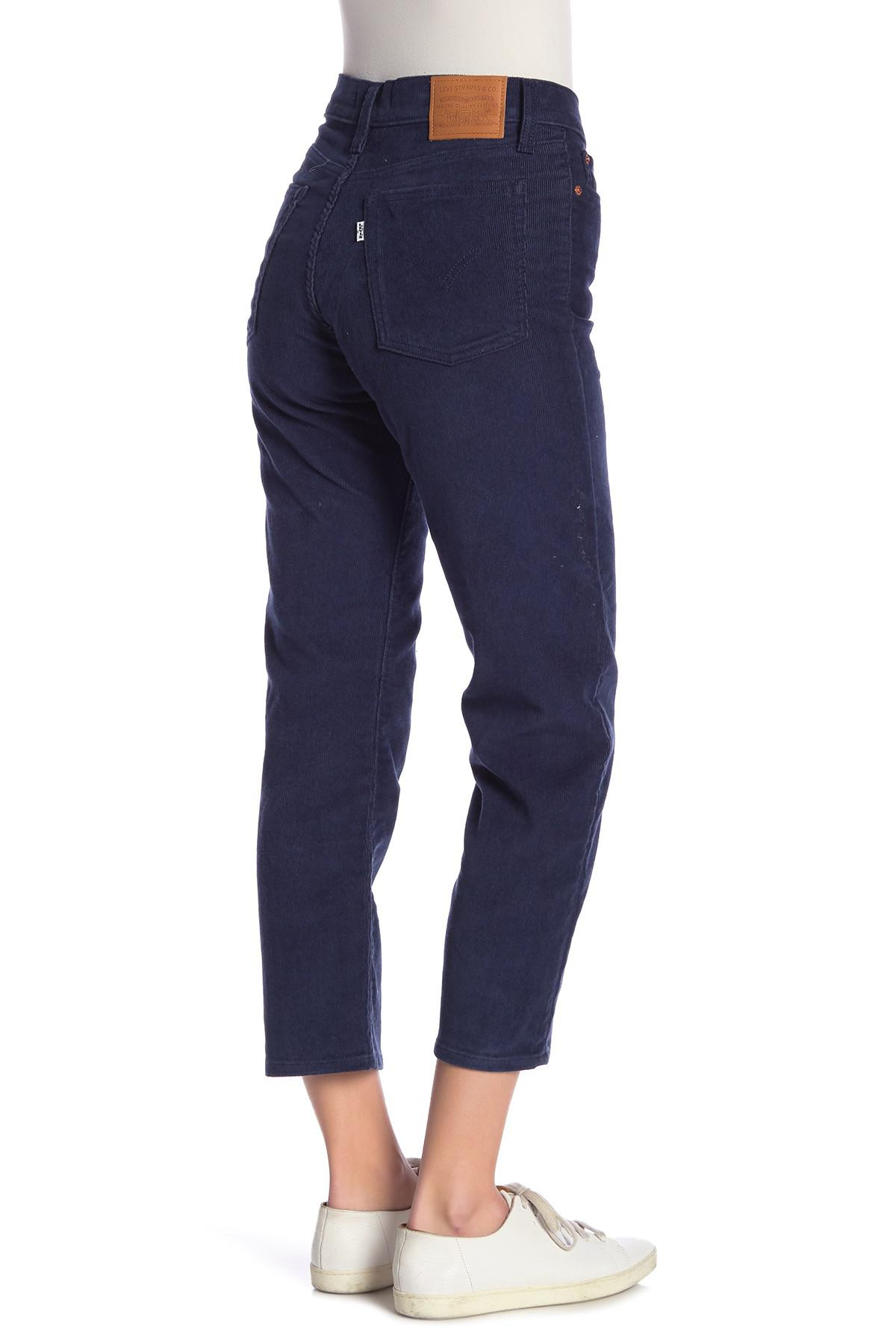 Lyst Levi S Wedgie Corduroy Cropped Straight Leg Jeans In Blue