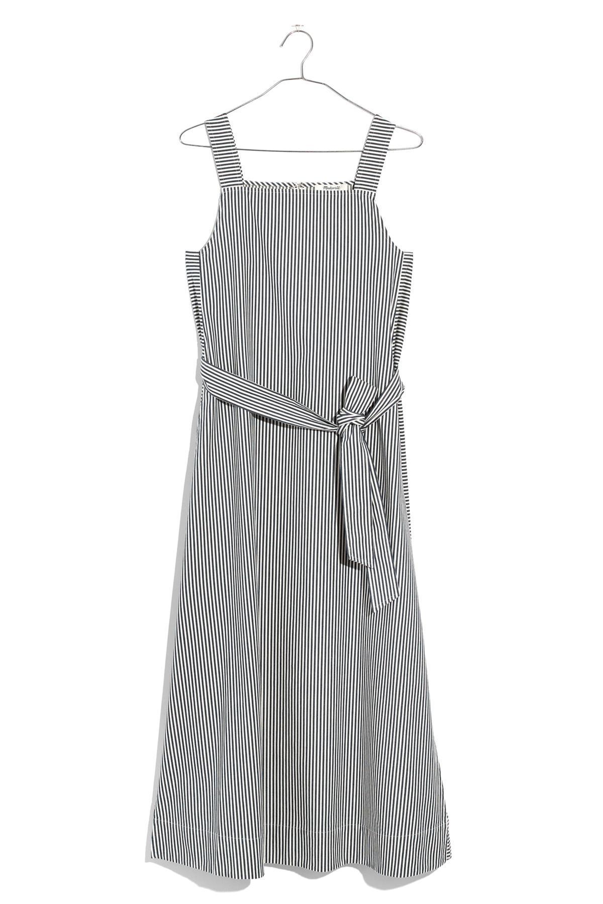 a5da01f9671 Lyst - Madewell Stripe Apron Tie Waist Midi Dress in Gray