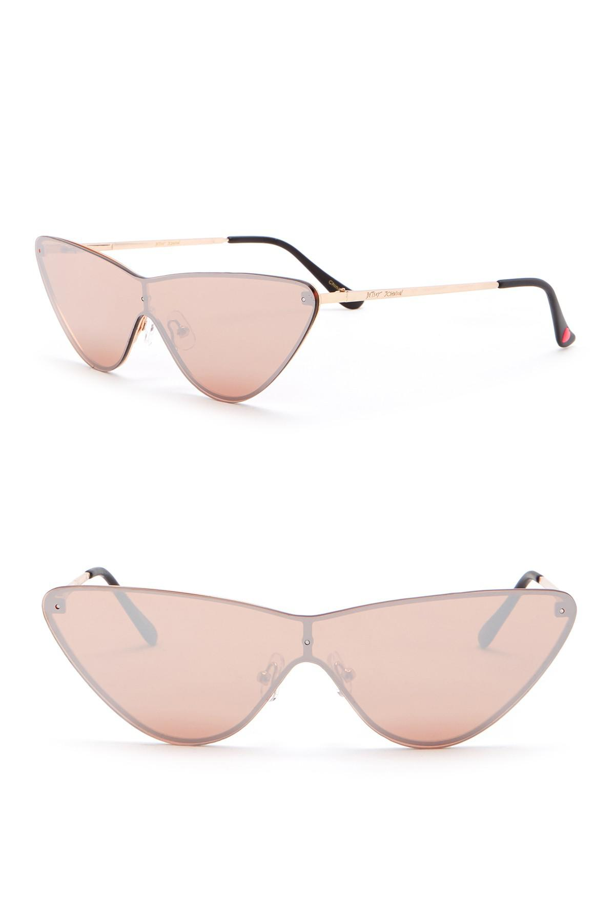 f068bf7791b03 Lyst - Betsey Johnson 140mm Cat Eye Shield Sunglasses in Pink