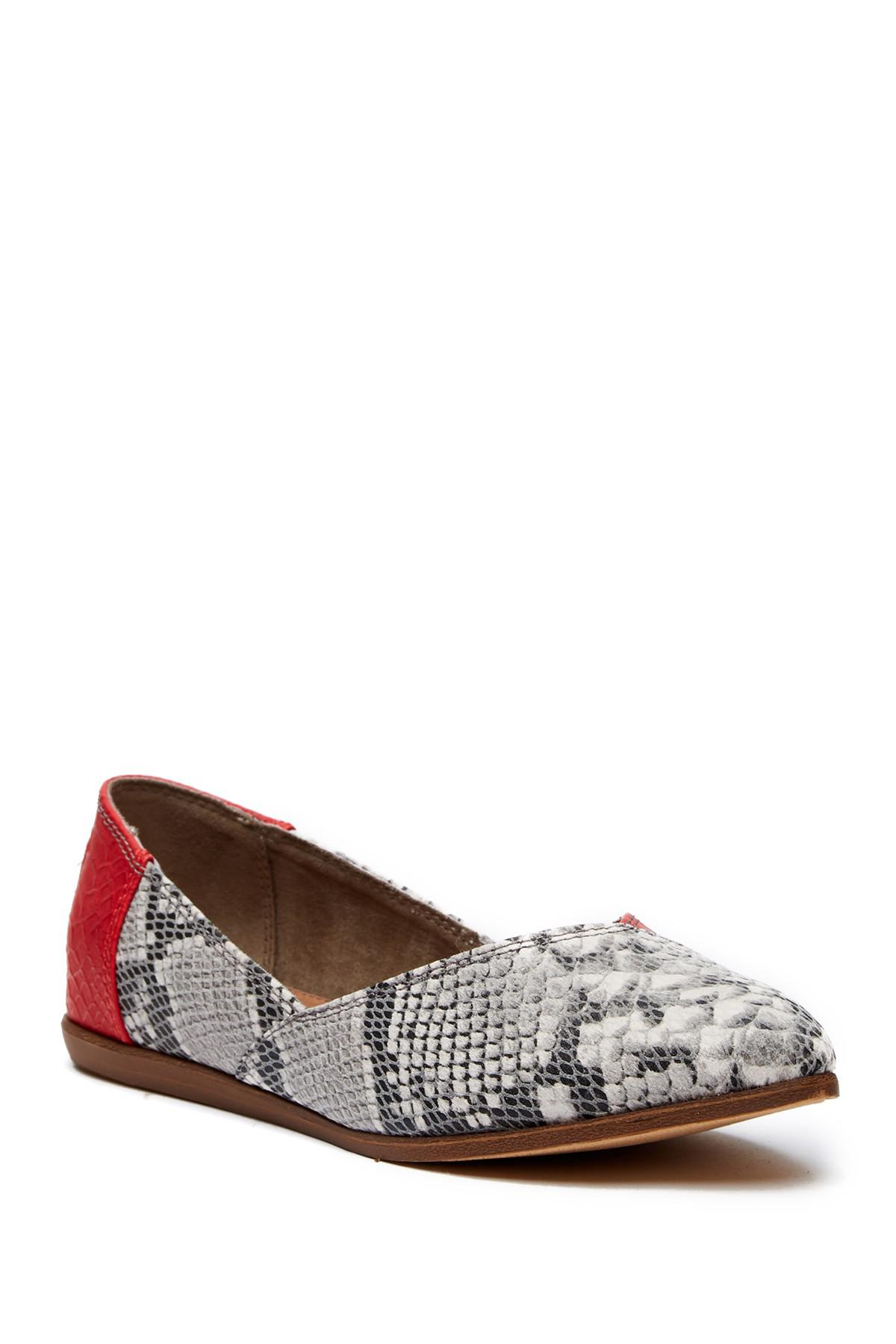 TOMS Jutti Red Snake Print Leather Flat FGzHP4m8b