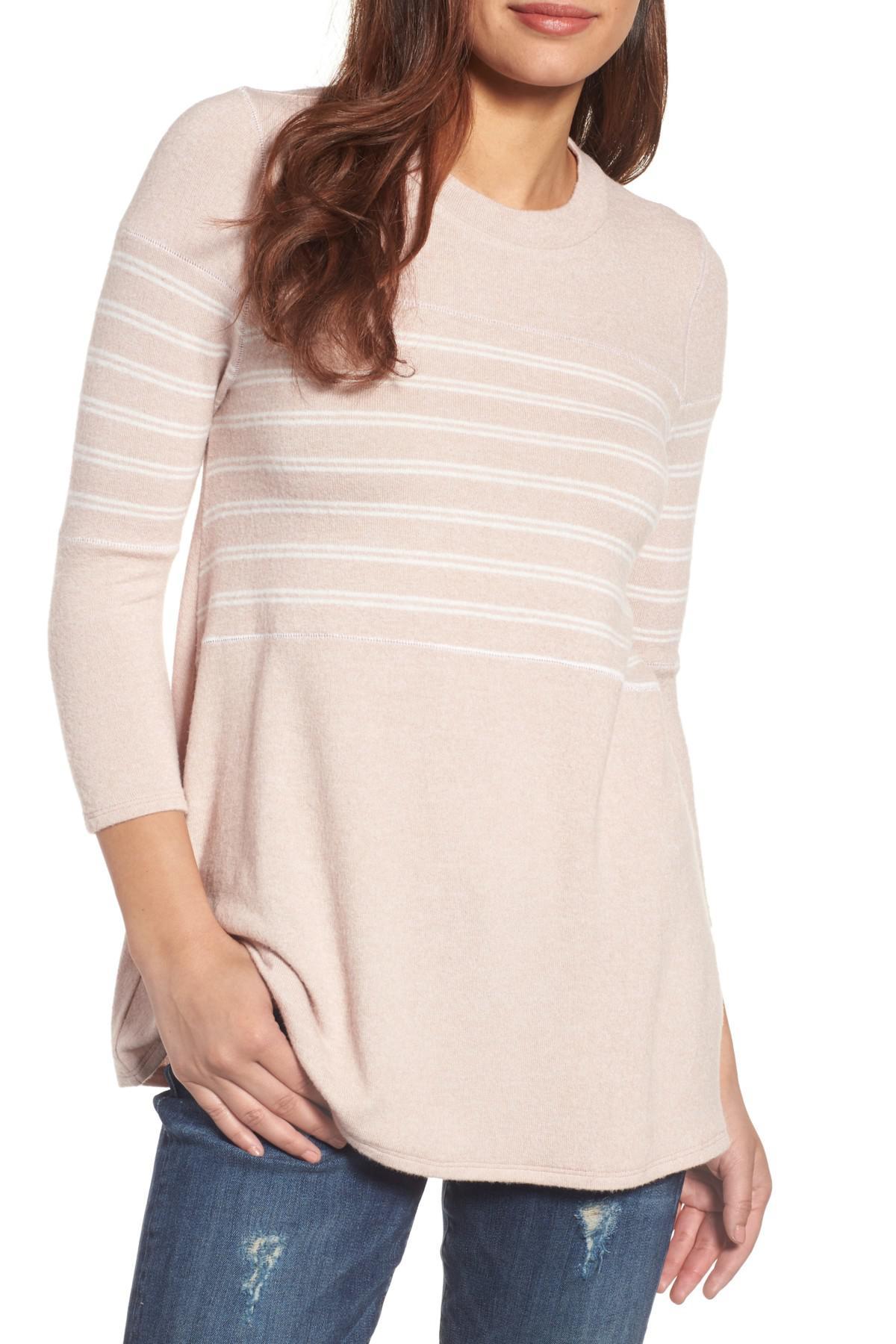 5778f4e0db2 Lyst - Caslon (r) Stripe Panel Sweater (regular   Petite) in Pink