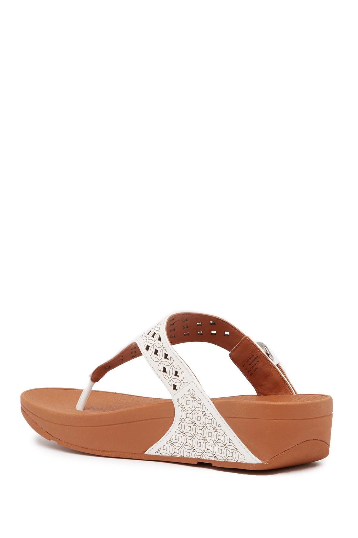 454fa30ad57db9 Fitflop - Brown Skinny Toe Post Lattice Wedge Sandal - Lyst. View fullscreen