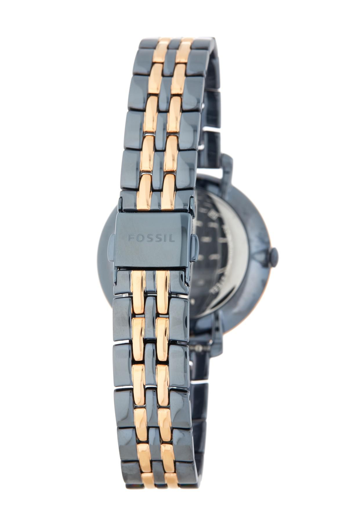 Fossil Watch Jacqueline Beige Stainless Steel Case Leather Strap Three Hand Graystone Es 4096 Multicolor Womens Bracelet 34mm Lyst View Fullscreen