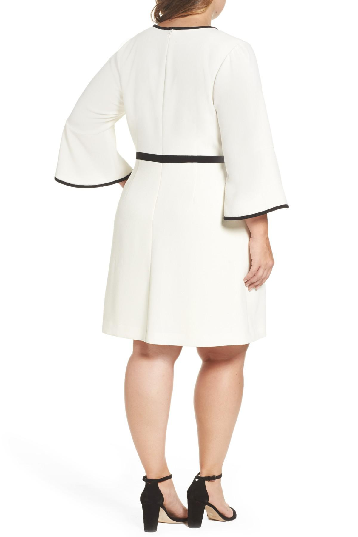 Lyst Eliza J Bell Sleeve Fit Amp Flare Dress In White