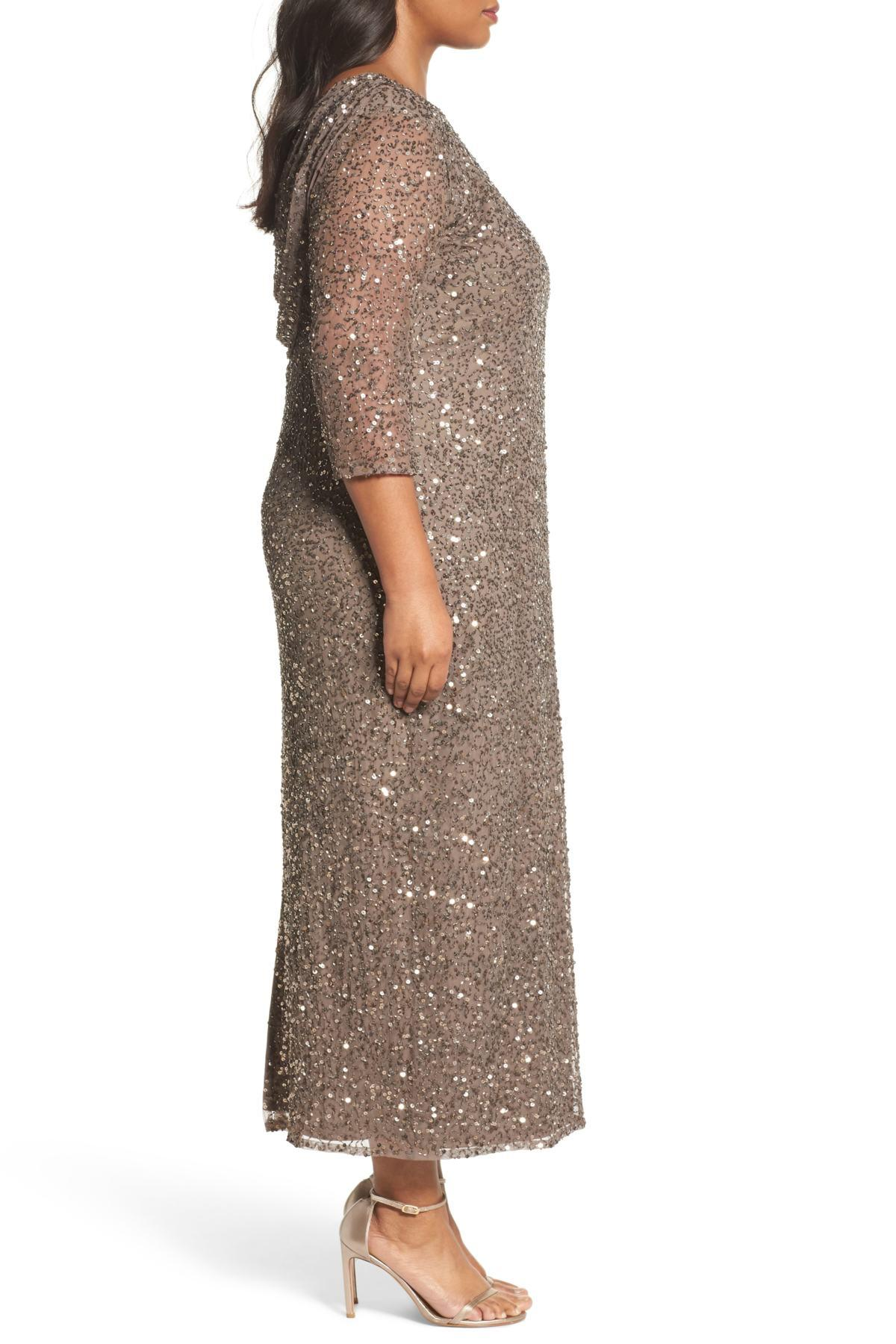 414073ff072 Lyst - Pisarro Nights Cowl Back Beaded Gown (plus Size)