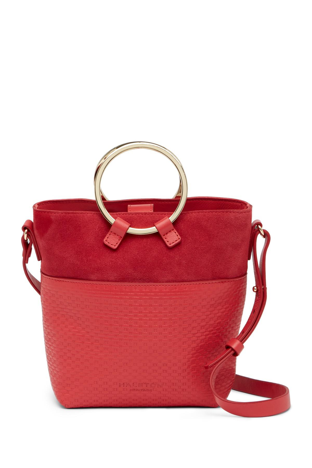 f0938b9bfcf6 Lyst - Halston Small Embossed Leather Crossbody Bucket Bag in Red