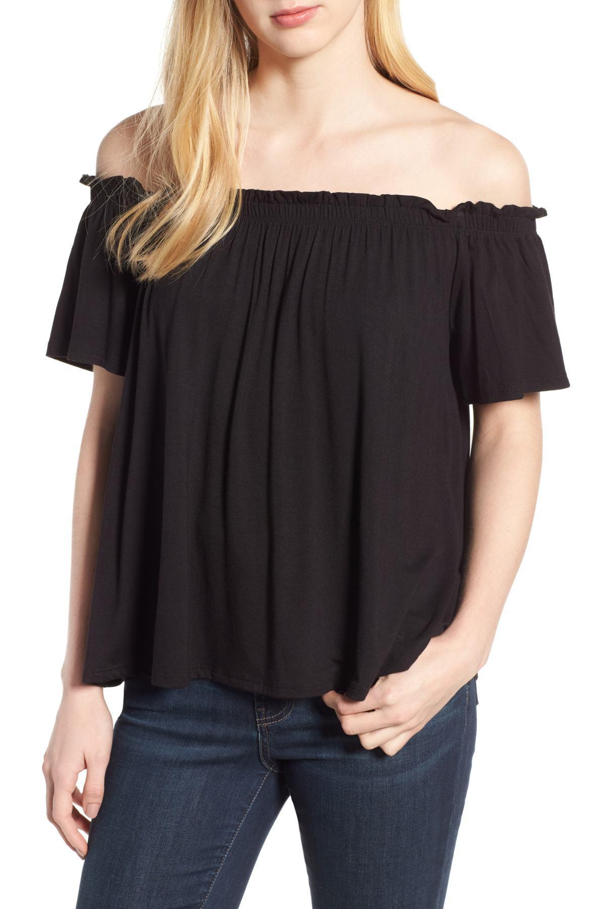 3274a19270ee8a Lyst - Bobeau Off The Shoulder Knit Top (regular   Petite) in Black
