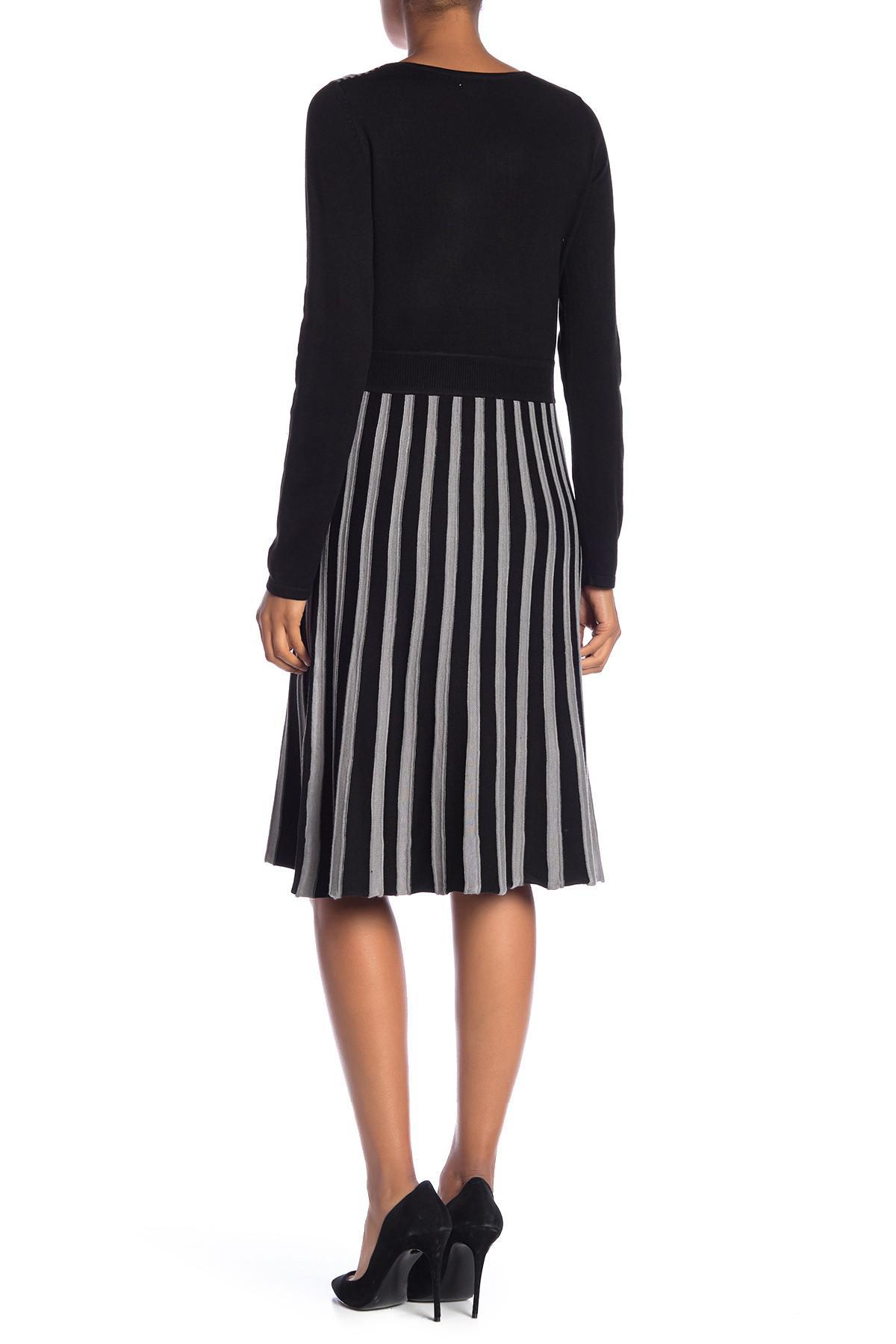 d084ef10847 Spense Fit   Flare Stripe Sweater Dress in Black - Lyst