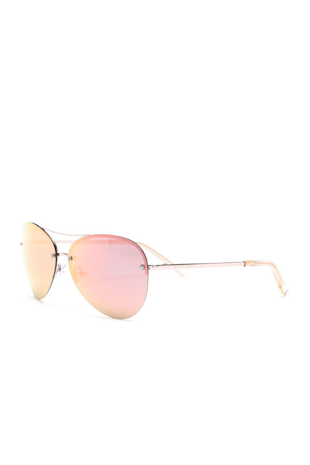 dc303586e7 Cole Haan Women s Wrap Aviator Polarized Sunglasses in Pink - Lyst