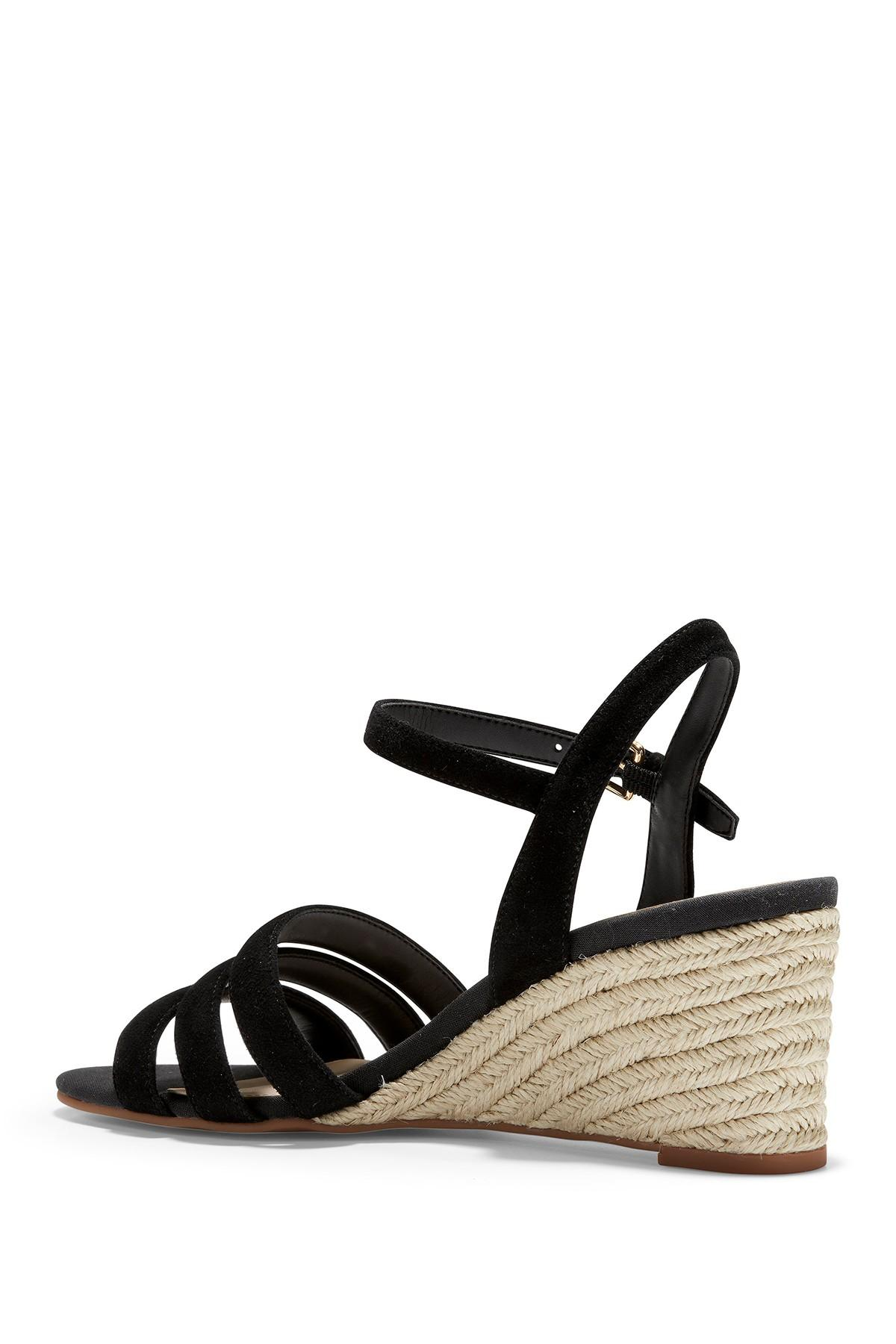 a6629bd480c Cole Haan - Black Jasmine Espadrille Strappy Wedge Sandal - Lyst. View  fullscreen