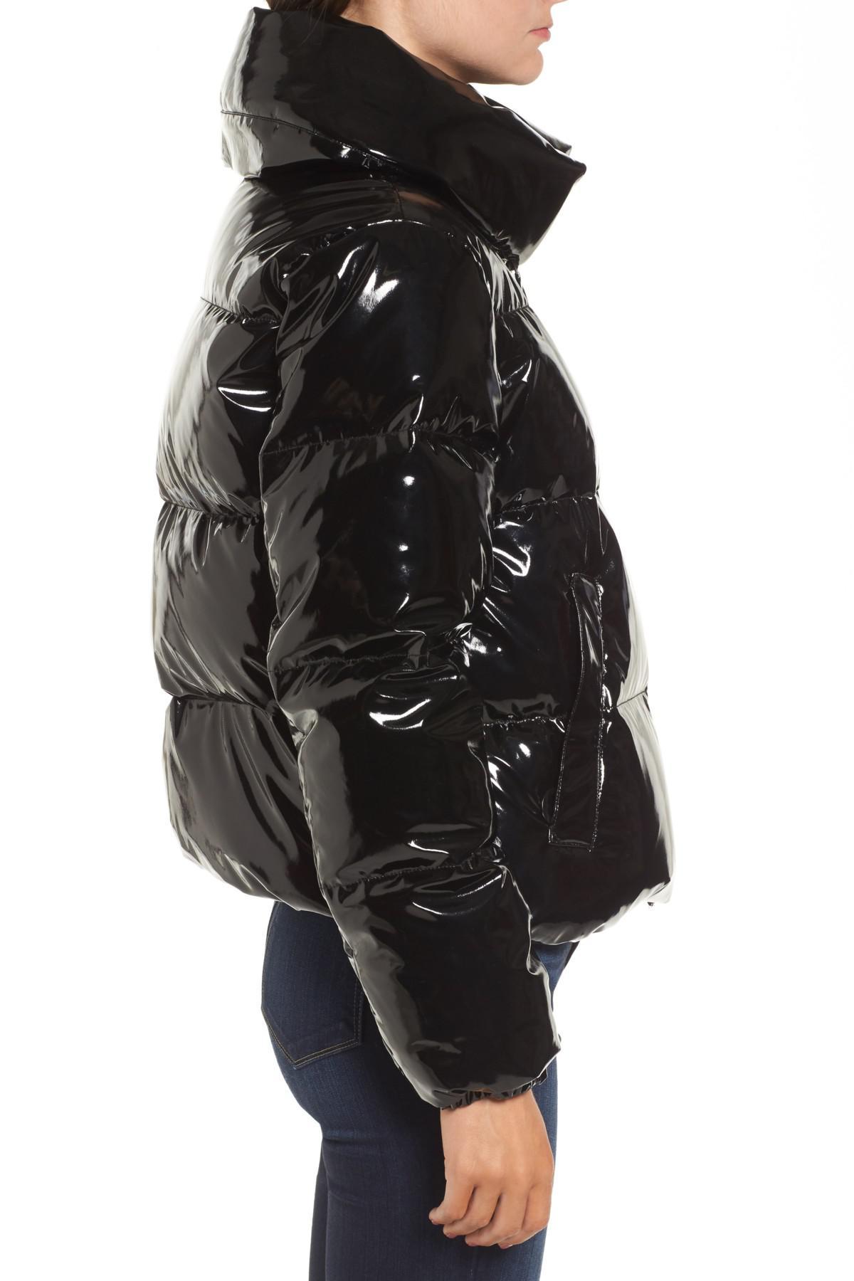 6fce5f8ca41cf Kendall + Kylie Shiny Puffer Jacket in Black - Lyst