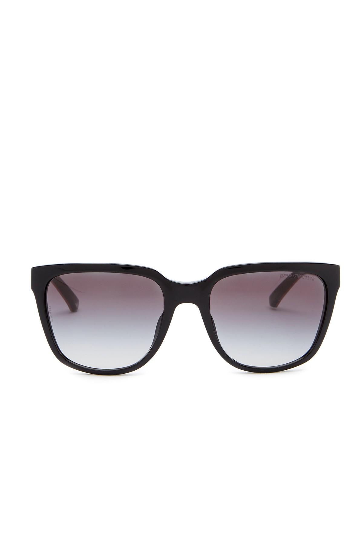 dff40a0f2eca Lyst - Emporio Armani 55mm Wayfarer Acetate Frame Sunglasses in Black