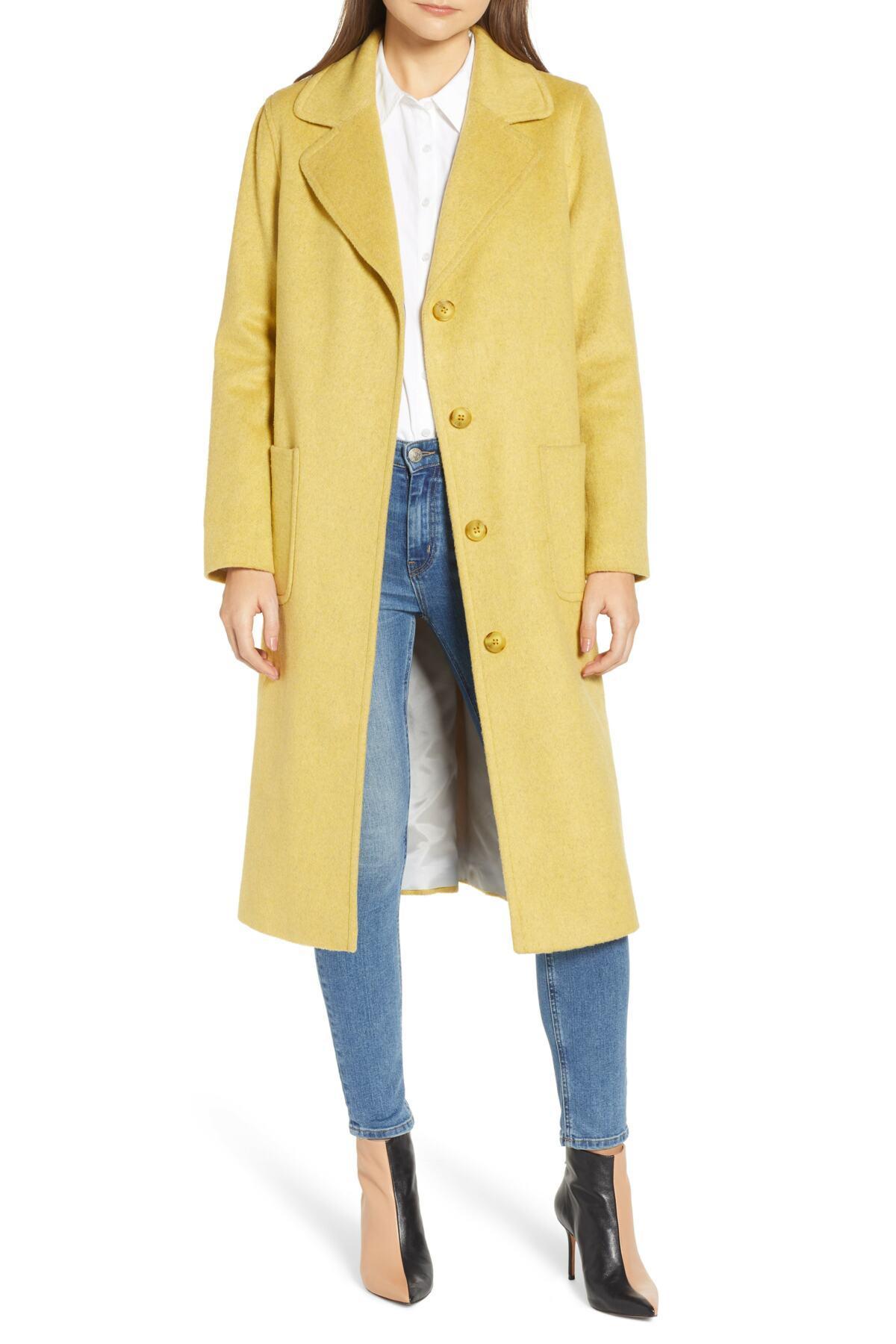 345a3c4bb563 Helene Berman Ruth Knee Length Coat in Yellow - Lyst
