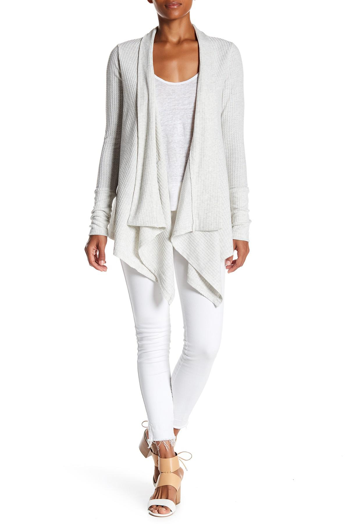 cb5bc41262a Lyst - Sweet Romeo Long Waffle Knit Cardigan in Gray