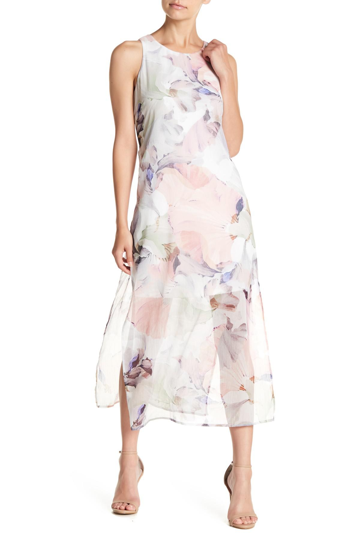 825330598a2a Vince Camuto Sleeveless Diffused Blooms Maxi Dress (petite) in White ...