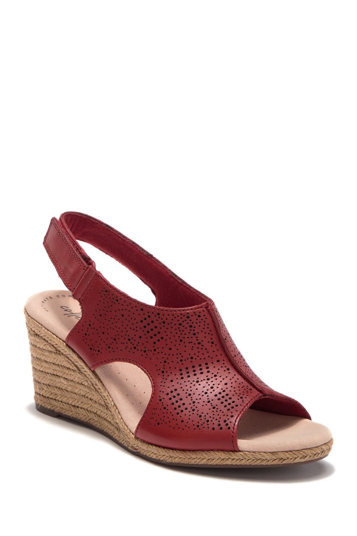 6aa8b2eea1e Lyst - Clarks Lafley Rosen Espadrille Wedge Sandal in Red