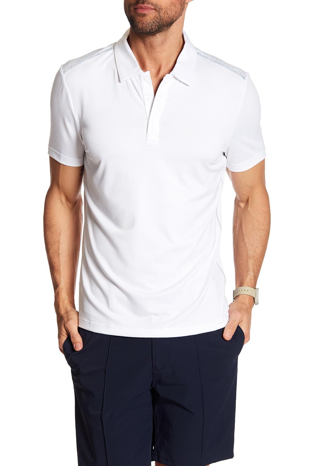 efc52494 Lyst - Perry Ellis Short Sleeve Hidden Placket Polo in White for Men
