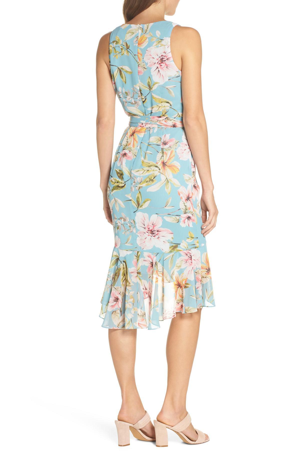 e185c01c07 Eliza J - Blue Floral Print Faux Wrap Midi Dress (regular   Petite) -. View  fullscreen