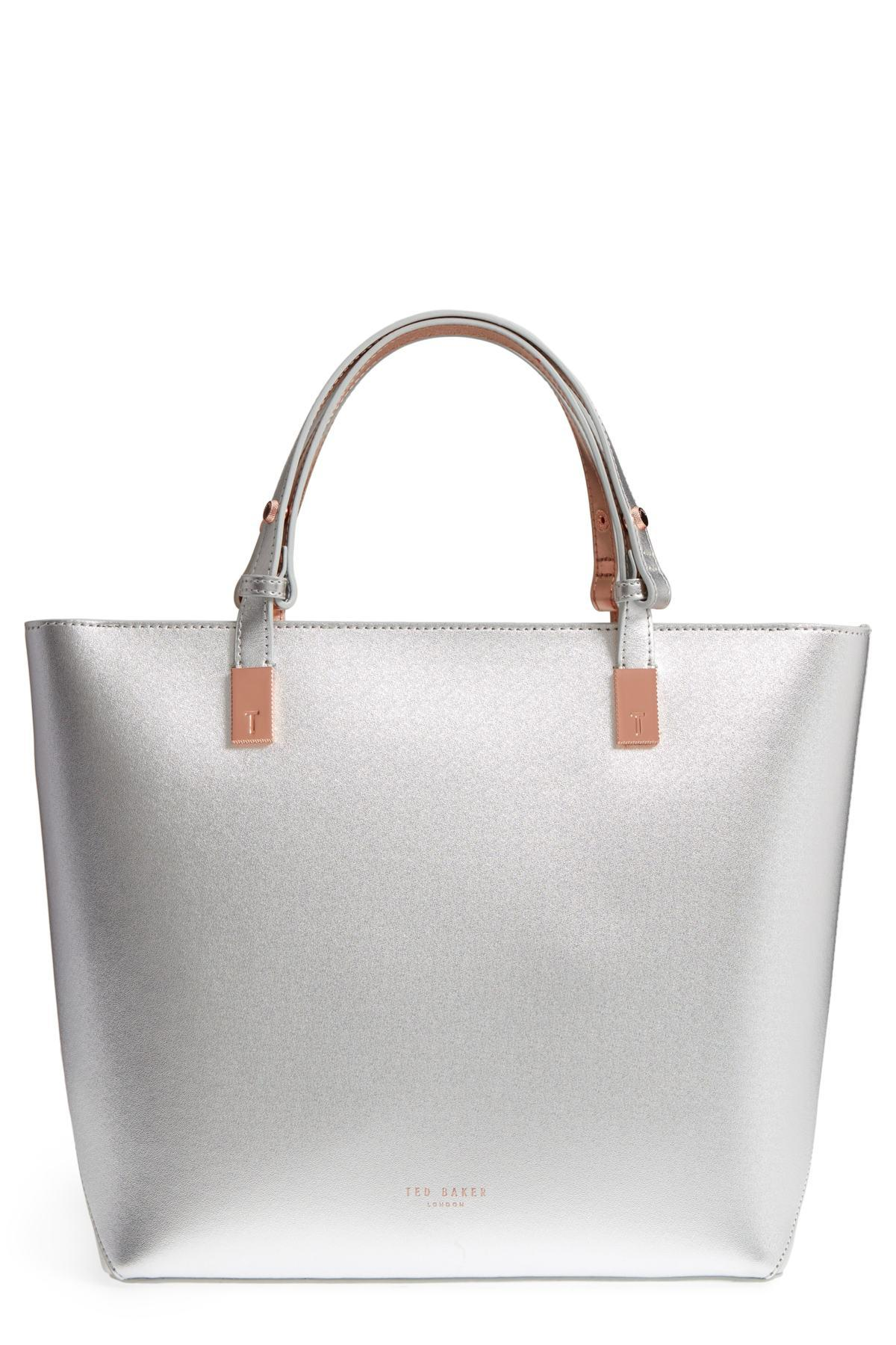 e48e59ade869 Ted Baker - Metallic Adjustable Handle Leather Tote - Lyst. View fullscreen