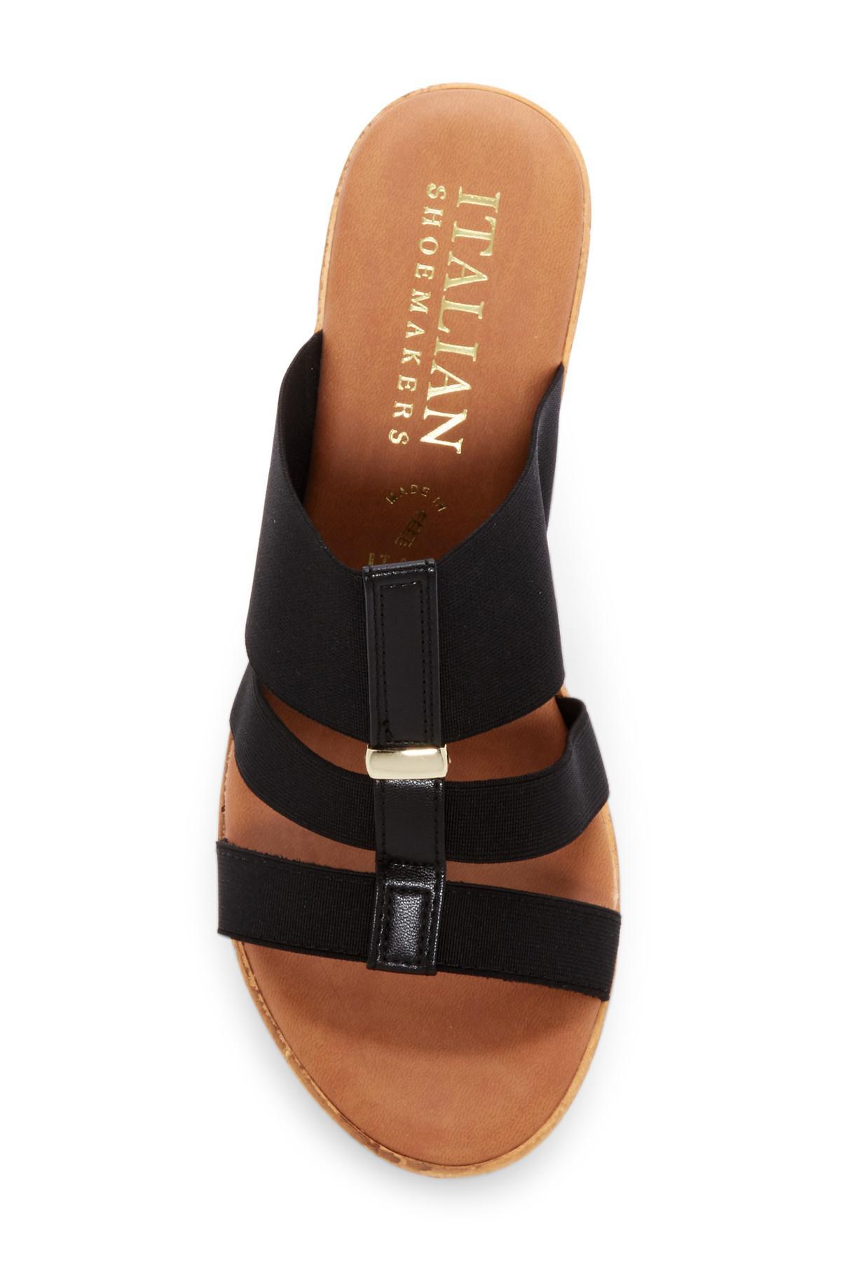 f29fc6b9f277 Lyst - Italian Shoemakers Elasticized Platform Wedge Sandal in Black