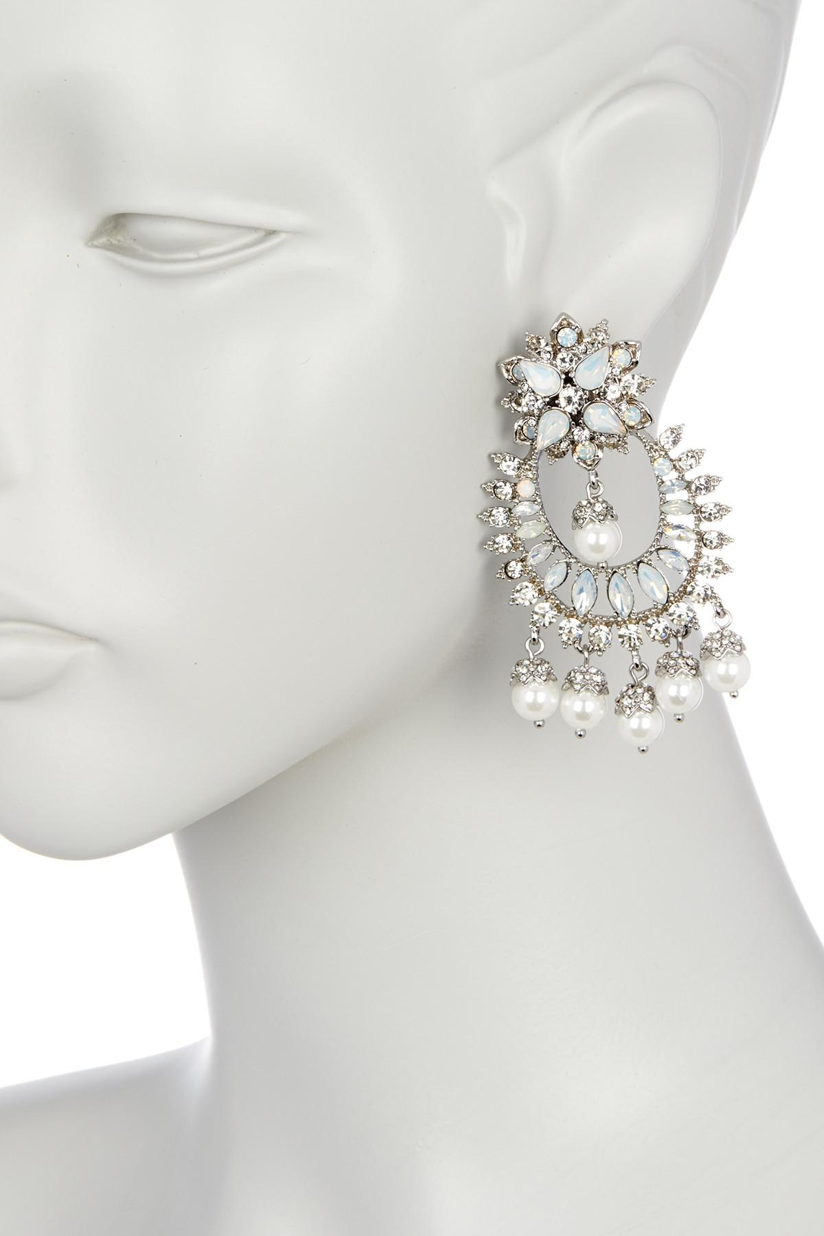Lyst marchesa crystal imitation pearl drama chandelier earrings gallery arubaitofo Image collections
