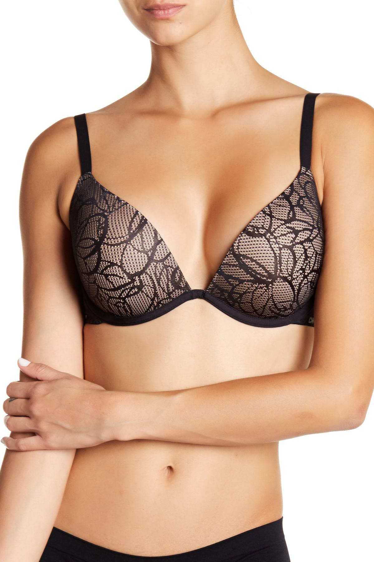 b0a574297bda7 Lyst - DKNY Signature Plunge Push-up Bra in Black