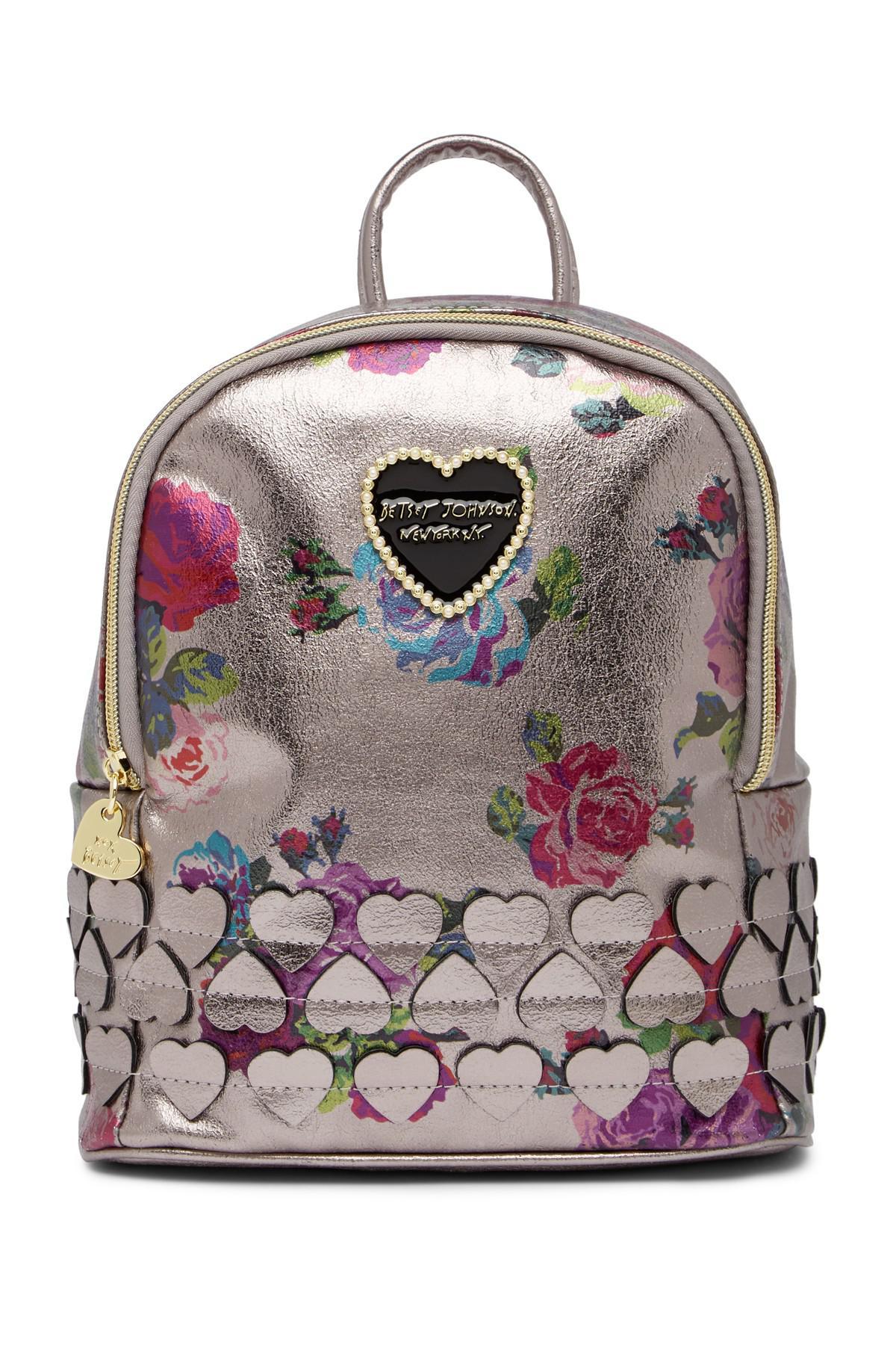 Lyst - Betsey Johnson Heart Applique Mini Backpack in Metallic
