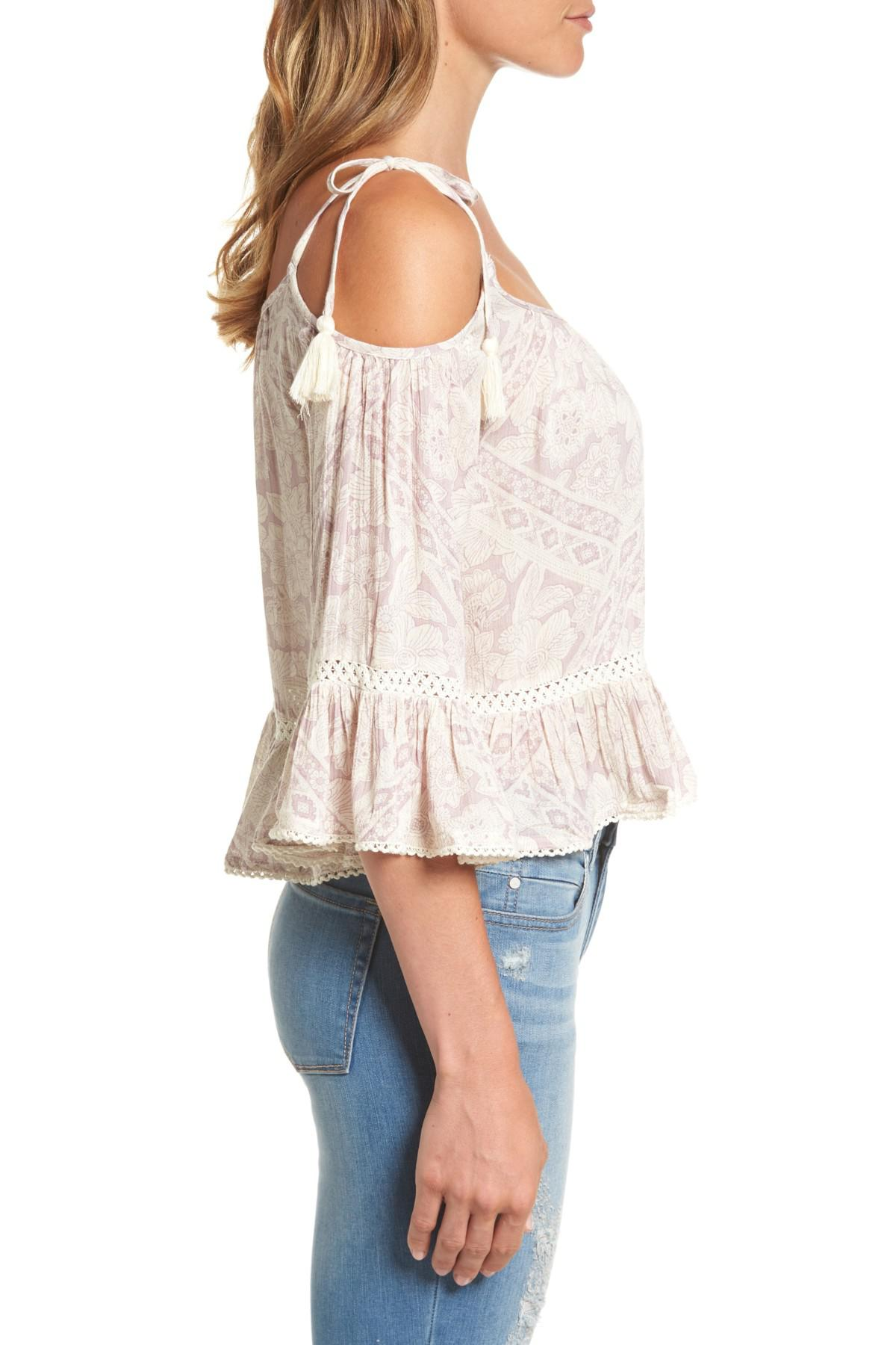3efb89fd7b6c4 Lyst - Dex Off The Shoulder Floral Print Top