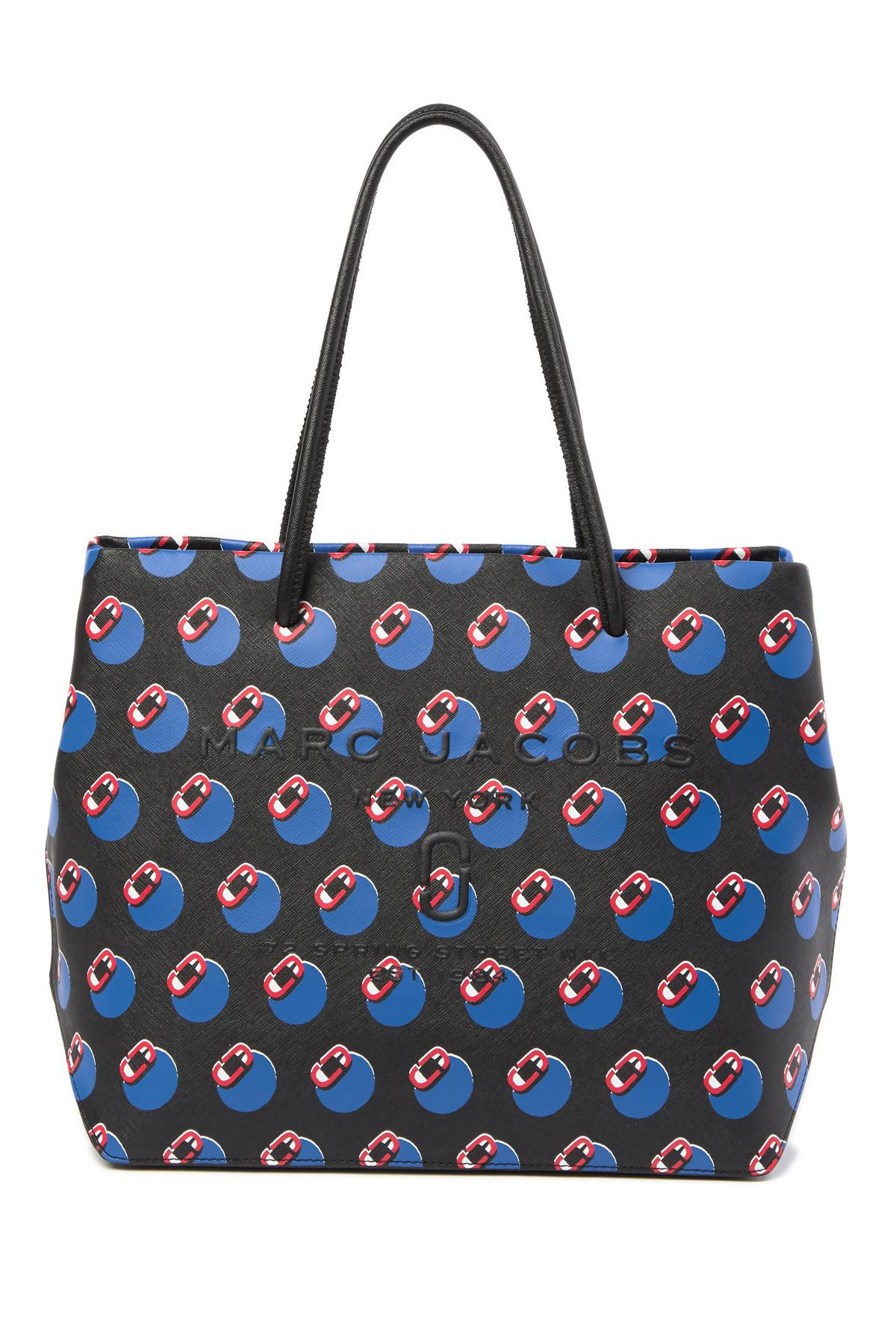 f75c85089476 Lyst - Marc Jacobs Logo Shopper Screaming Leather Tote Bag in Blue