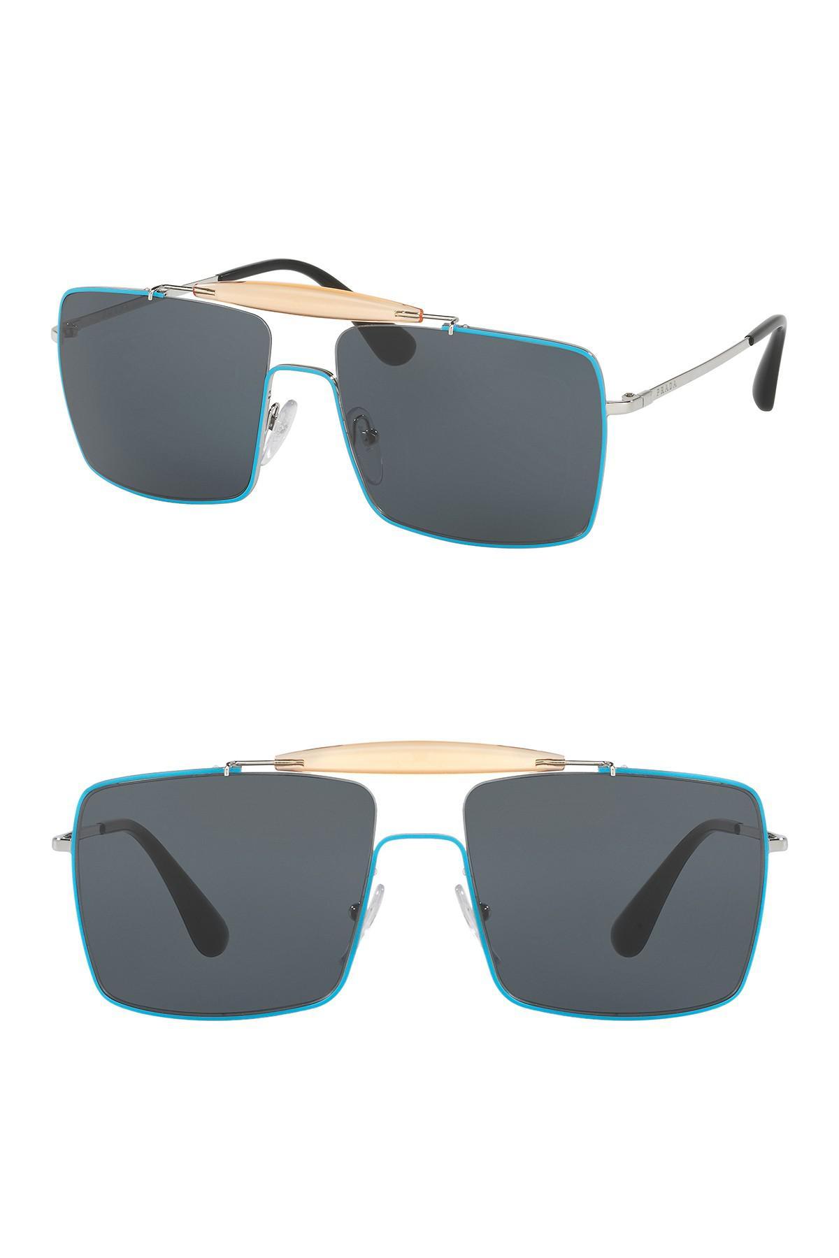 9031291c15b6 Lyst - Prada Men s Catwalk Square Top 58mm Sunglasses in Blue for Men