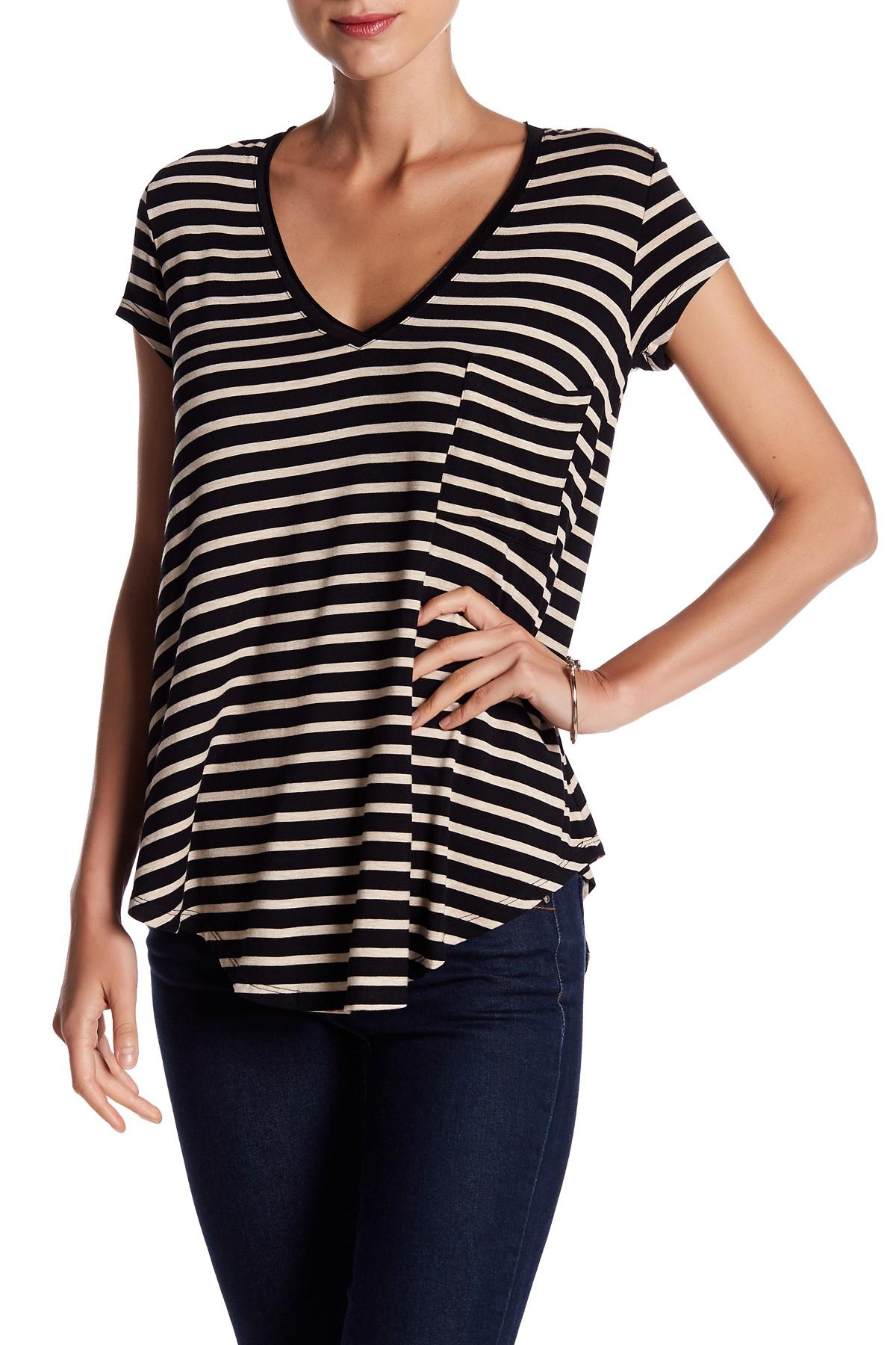 e3284d2efbca5 Lyst - Heather by Bordeaux Striped V-neck Tee in Black