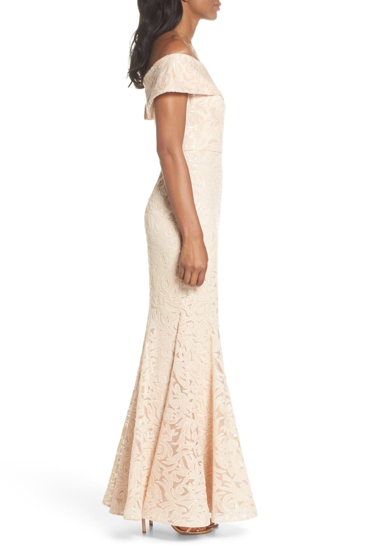d5f67068 Eliza J Off The Shoulder Sequin Trumpet Gown - Lyst
