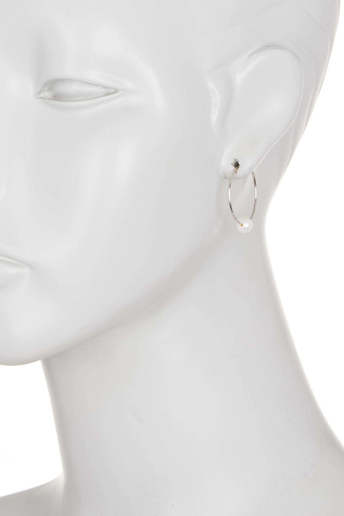 e0200ae66 Splendid - 14k Gold White 6mm Freshwater Pearl Hoop Earrings - Lyst. View  fullscreen