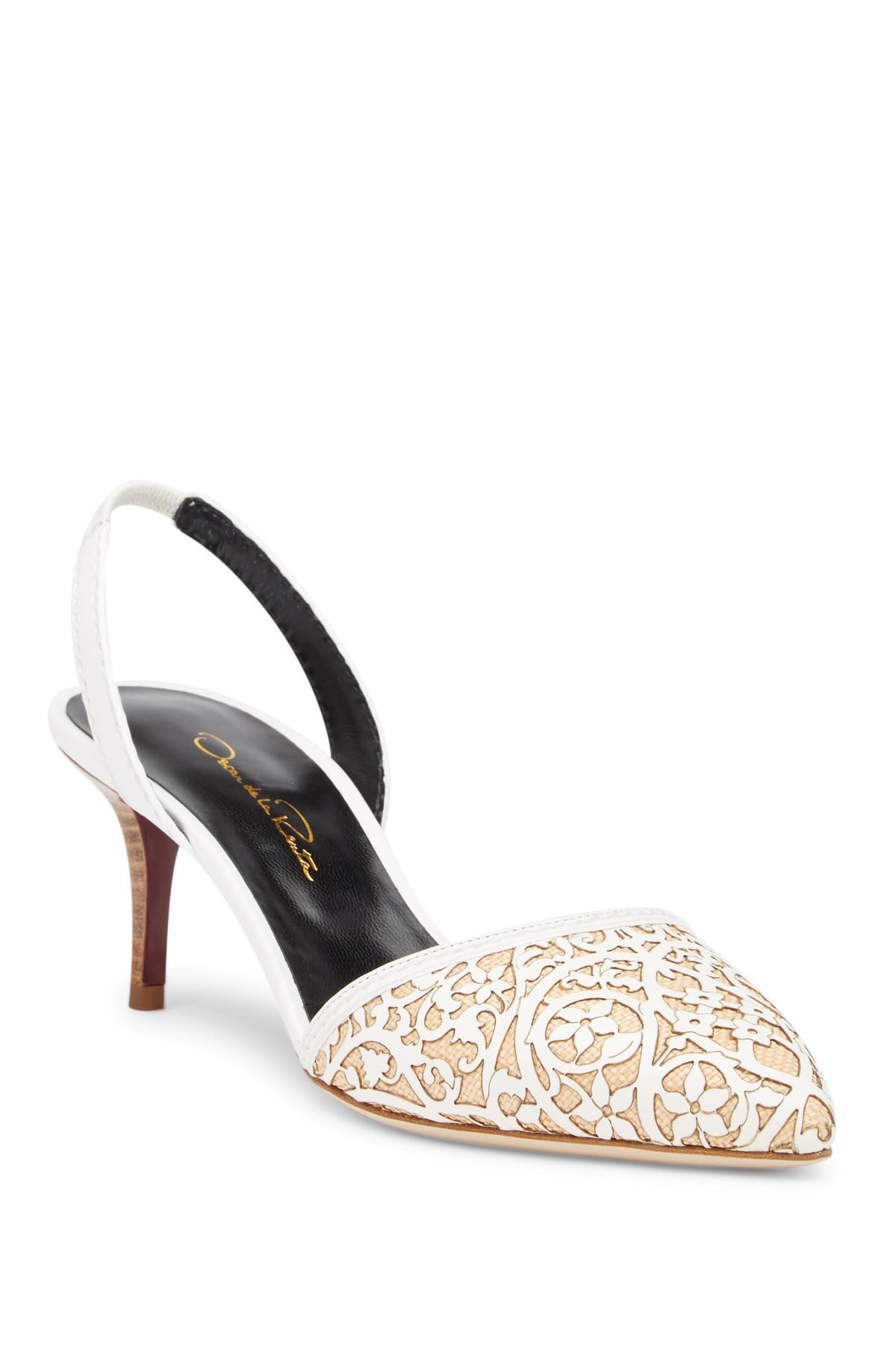Oscar de la Renta Embossed Low-Heel Sandals finishline outlet low price fee shipping sale footlocker finishline rIdKO