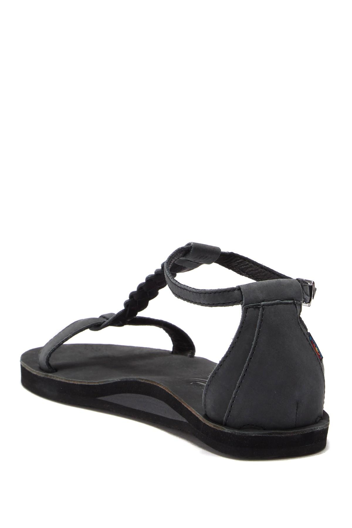 9c2fb32a11b Rainbow Sandals - Black Calafia Single Layer Center Braid Heel - Lyst. View  fullscreen